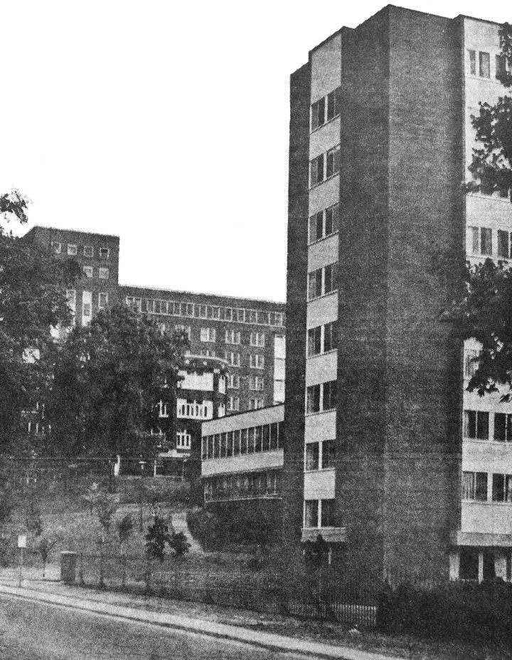 Nurses' Residence. The residence, in the foreground, opened in April-1964, to replace the residence at the condemned Winston Hall. The residence accommodated 208 students in single rooms. The low two-storey structure in the middle, connecting the residence to the hospital, housed the School of Nursing.