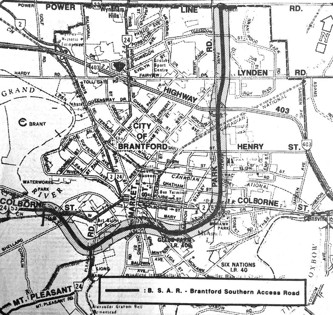 Map of the route of the Brantford Southern Access Road as proposed in 1966.