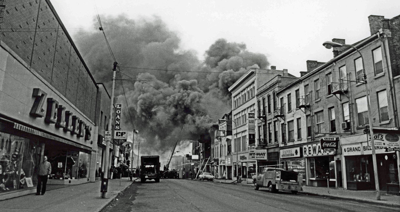 Belmont Hotel fire, 29-May-1974. The site would remain vacant until Massey House, now Laurier's Grand River Hall, was built in 1980.  Image courtesy of the Brant Historical Society