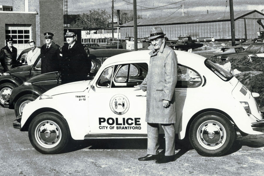 Brantford Police Department's new 1972 Volkswagen Beetles patrol vehicles.  Image courtesy of the Brant Historical Society