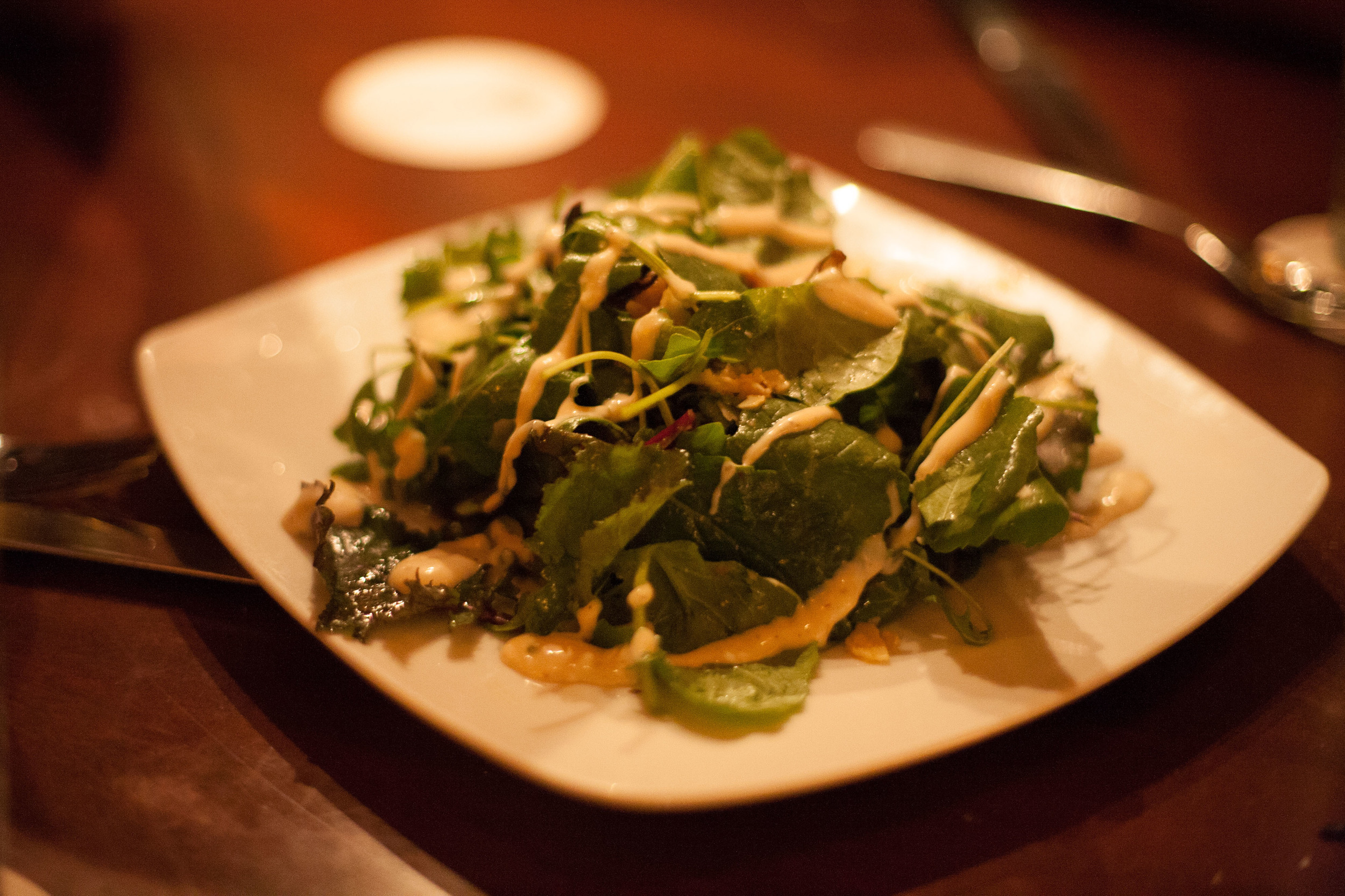Warm Harvest Mushrooms & Arugula served with truffle dressing and shaved Parmesan cheese.