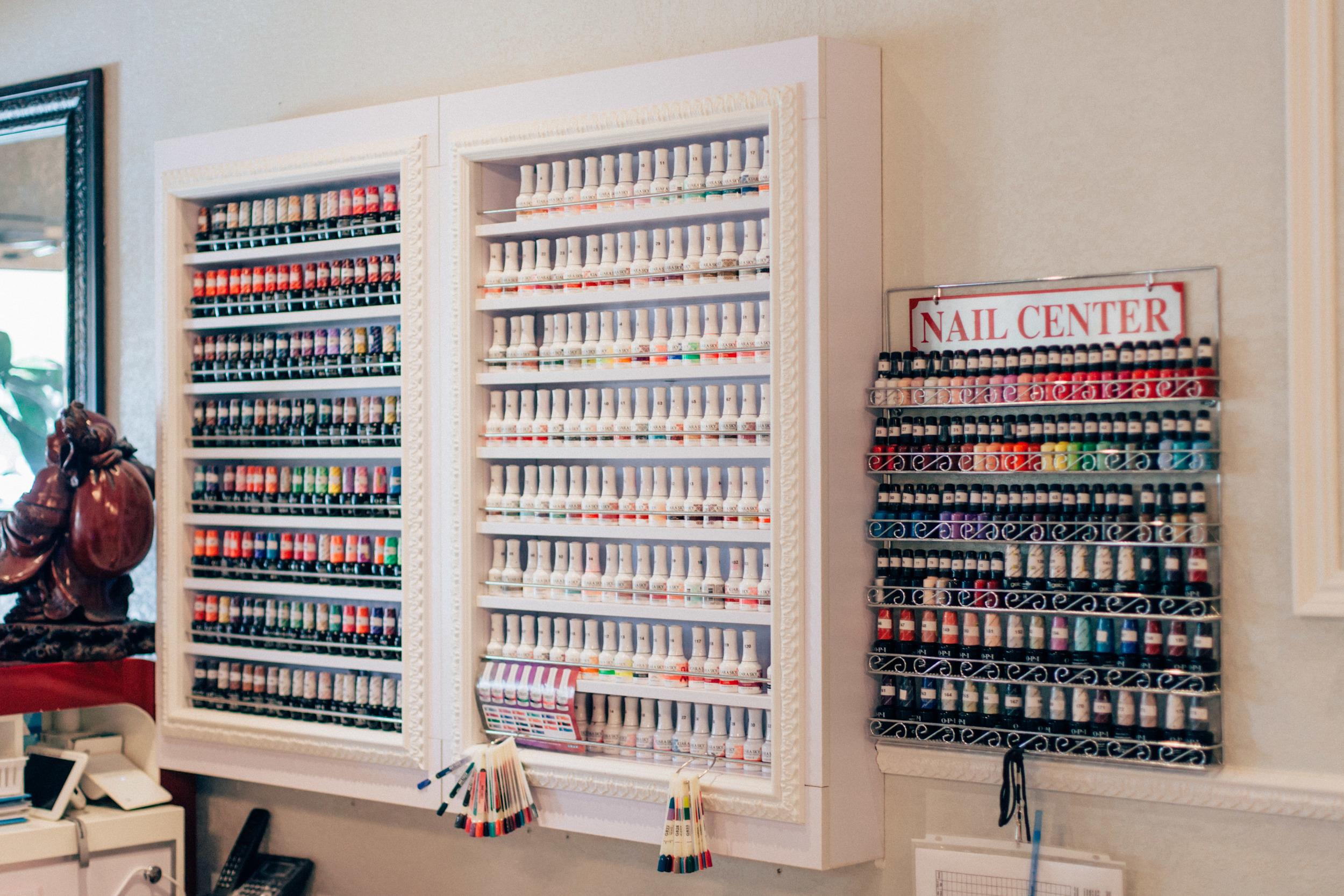 Selection of gel nail polish.