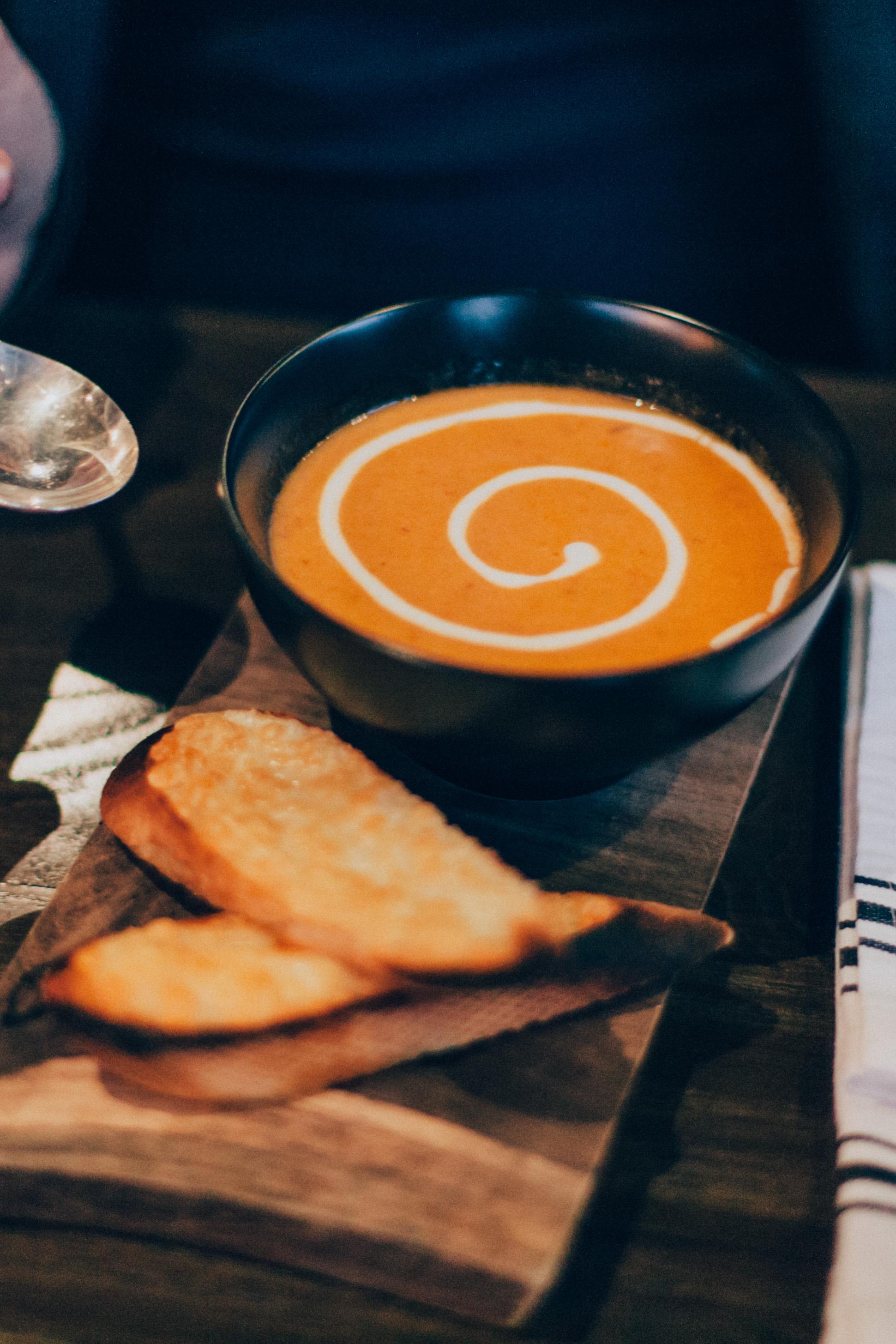 Tomato Soup - Heirloom tomatoes, prosciutto & cream.