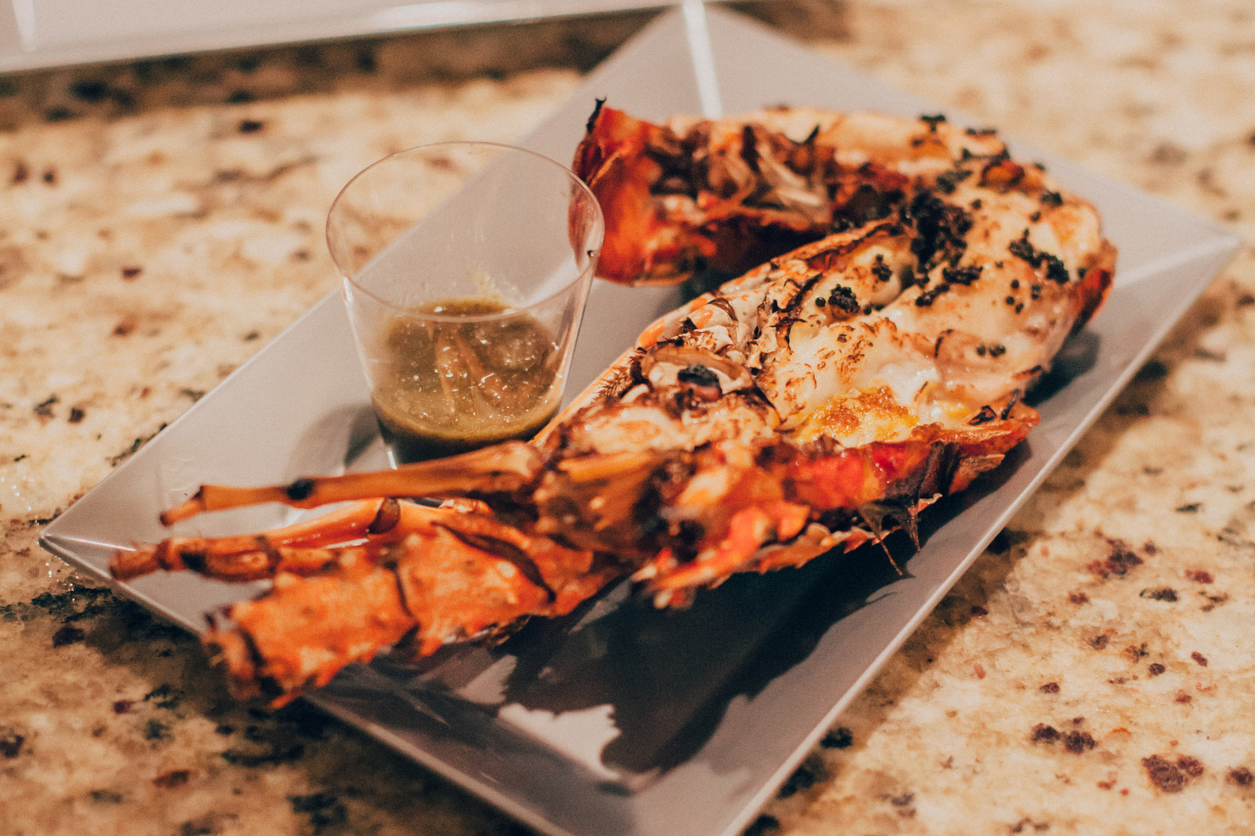 Oven-roasted Key West lobster served with a spicy tamarind fish sauce