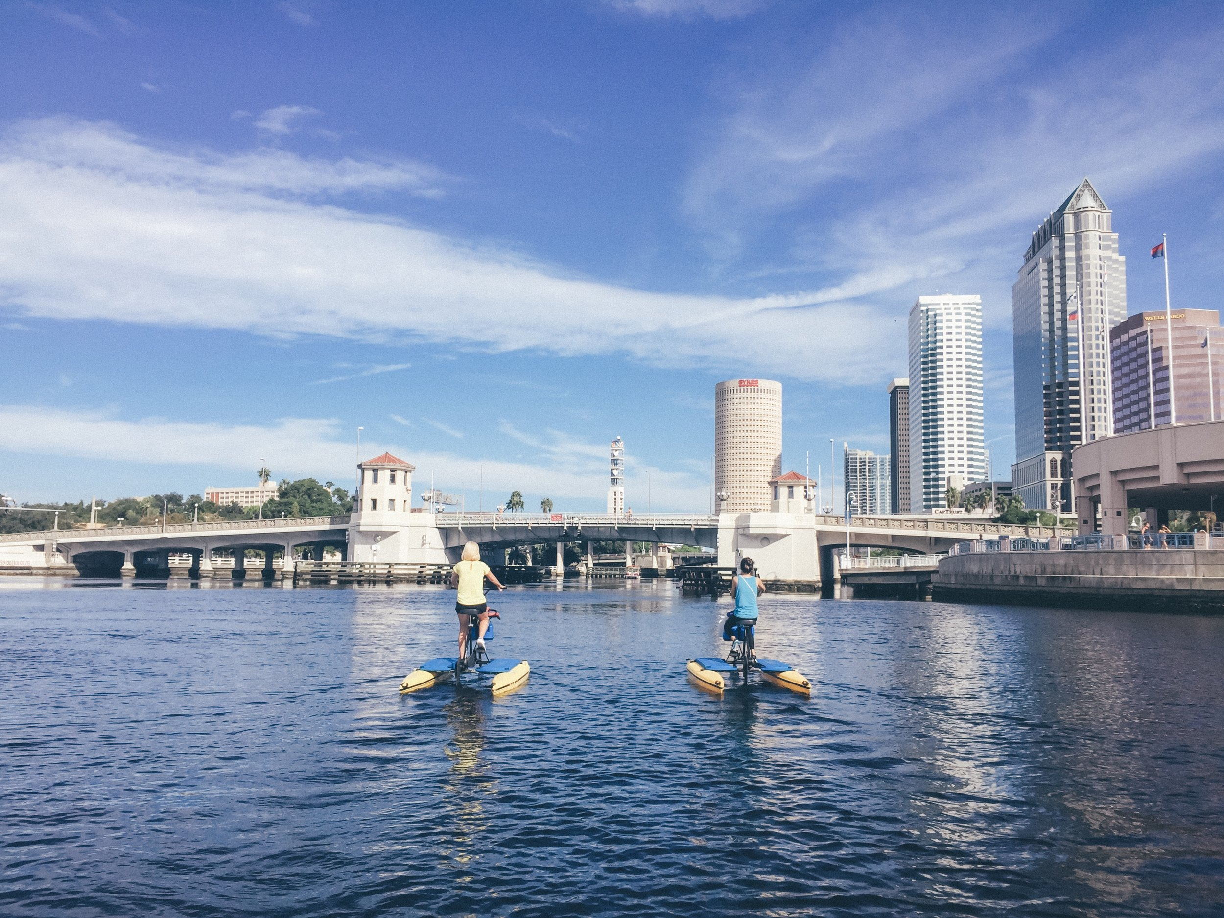 Audrey  and I took the guys out on  Tampa Bay Water Bikes  for the morning - what a work out!
