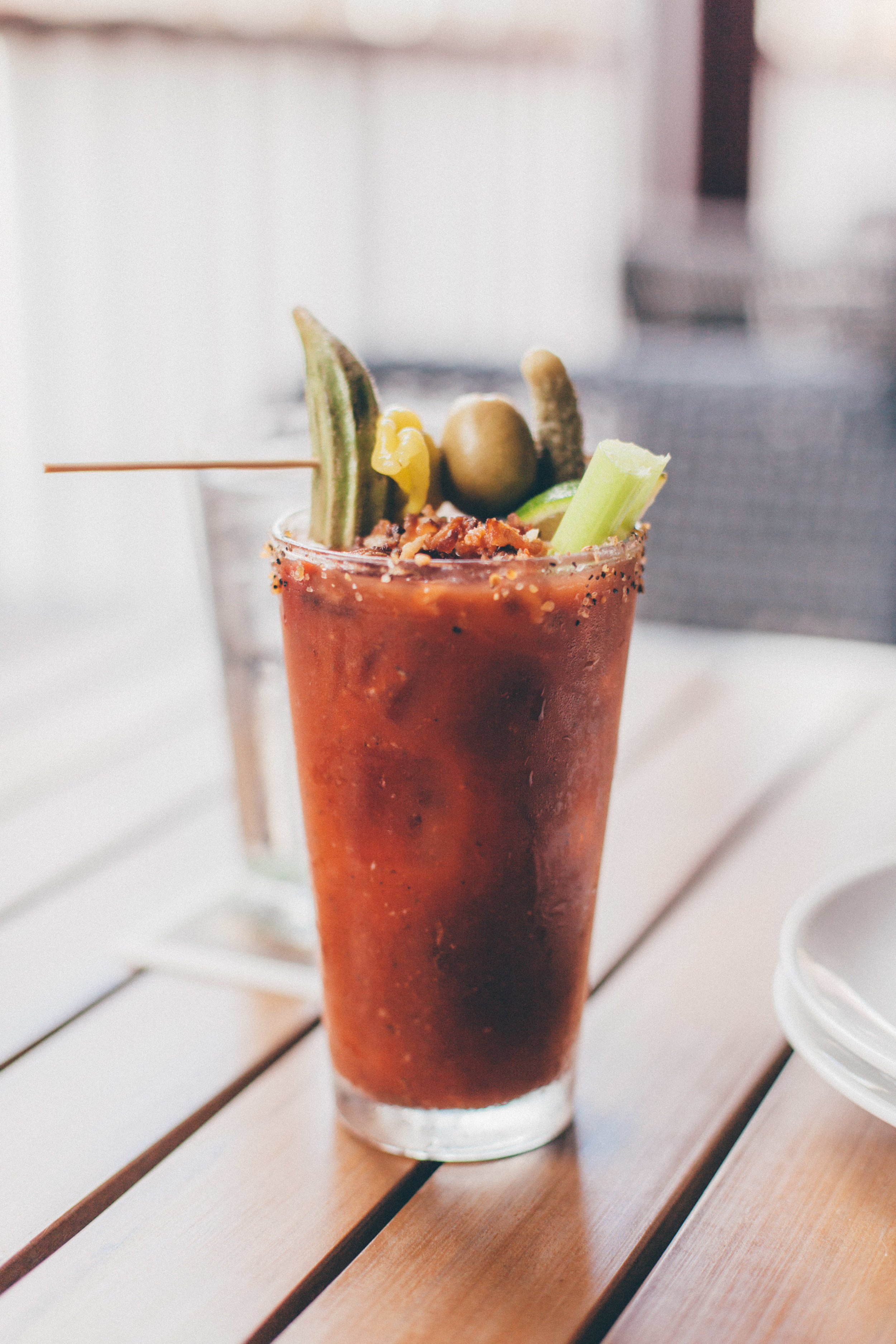 My personal Bloody Mary concoction - Zing Zang Bloody Mary mix, a little Worcestershire sauce, horseradish, Sriracha and bacon. Garnished with pickled okra, pepperoncini, olive and dill pickle, a celery stalk and lime.