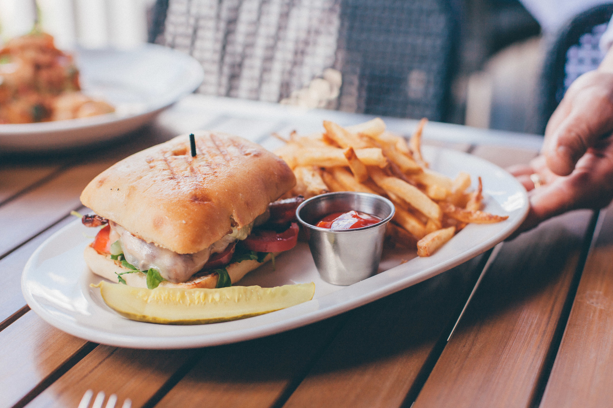 Grilled Chicken Panini: Grilled chicken, melted provolone, arugula, roma tomatoes, applewood smoked bacon, basil aioli in a pressed ciabatta bread.