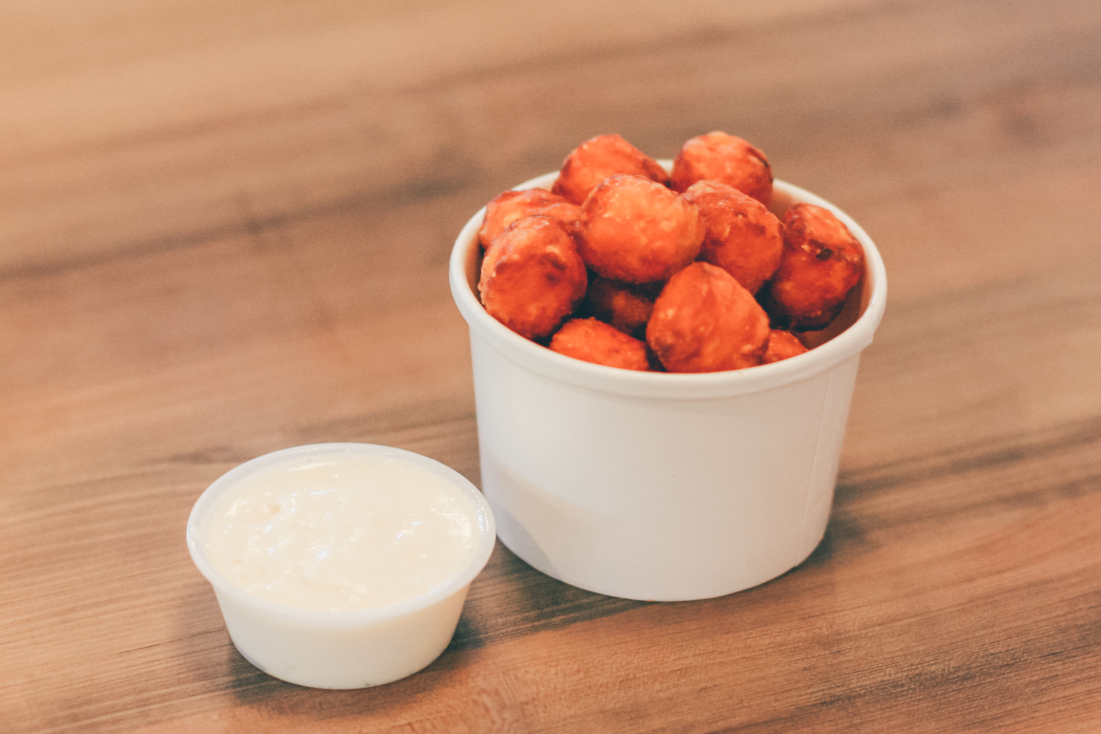 Sweet Potato Tots: Served with a whipped maple dip