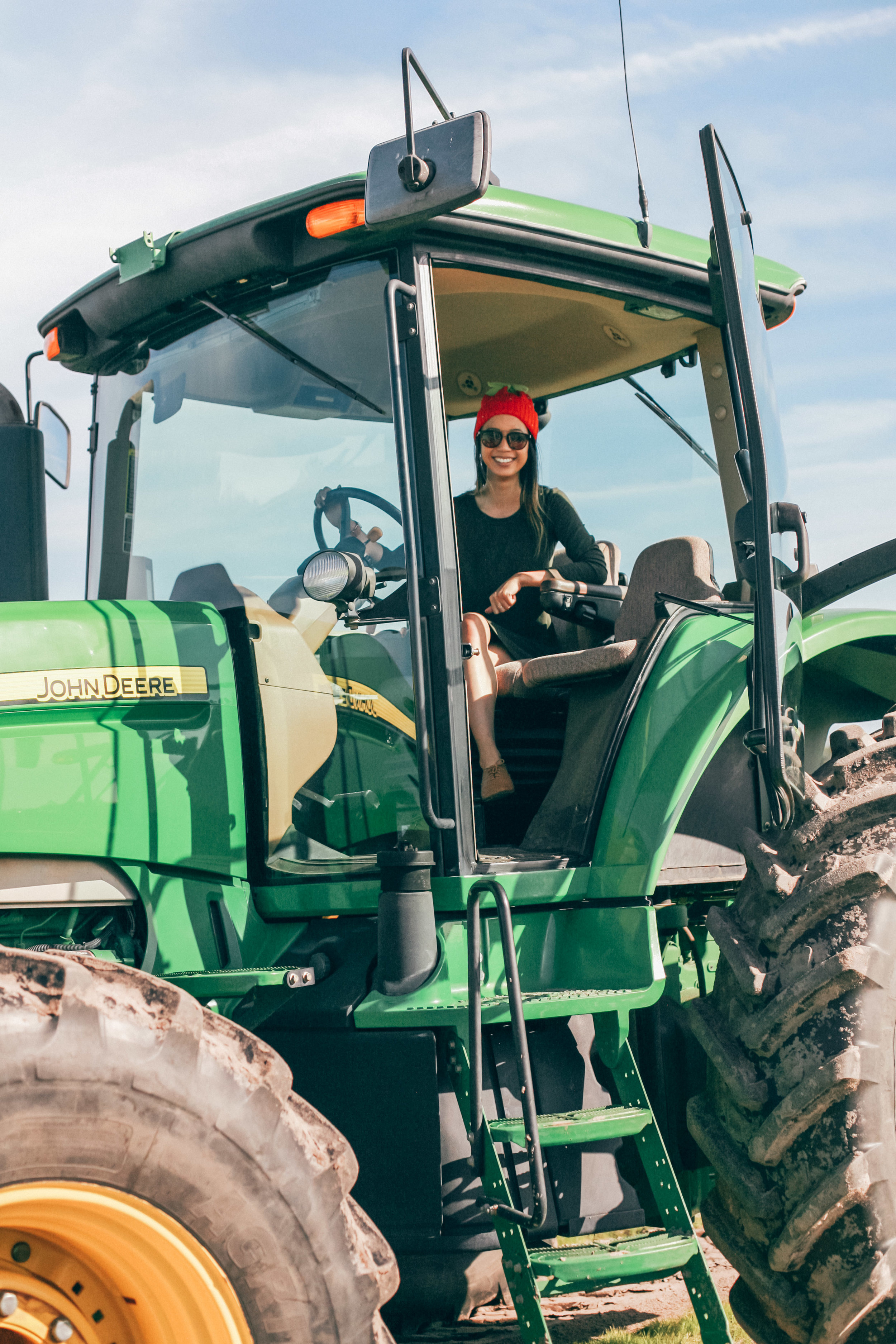 Look at how tiny I am in this huge tractor!