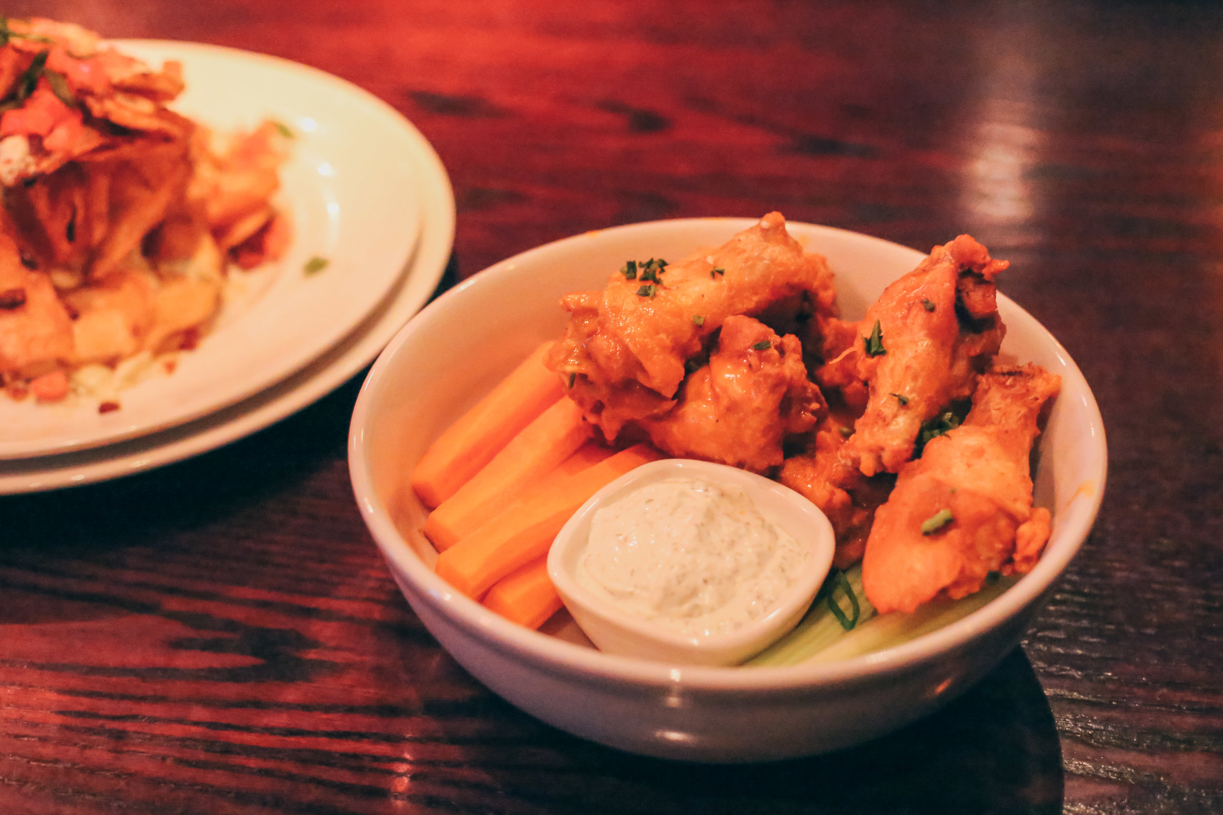 Classic Buffalo-Style Wings, served with carrots, celery and a house-made Gorgonzola dressing