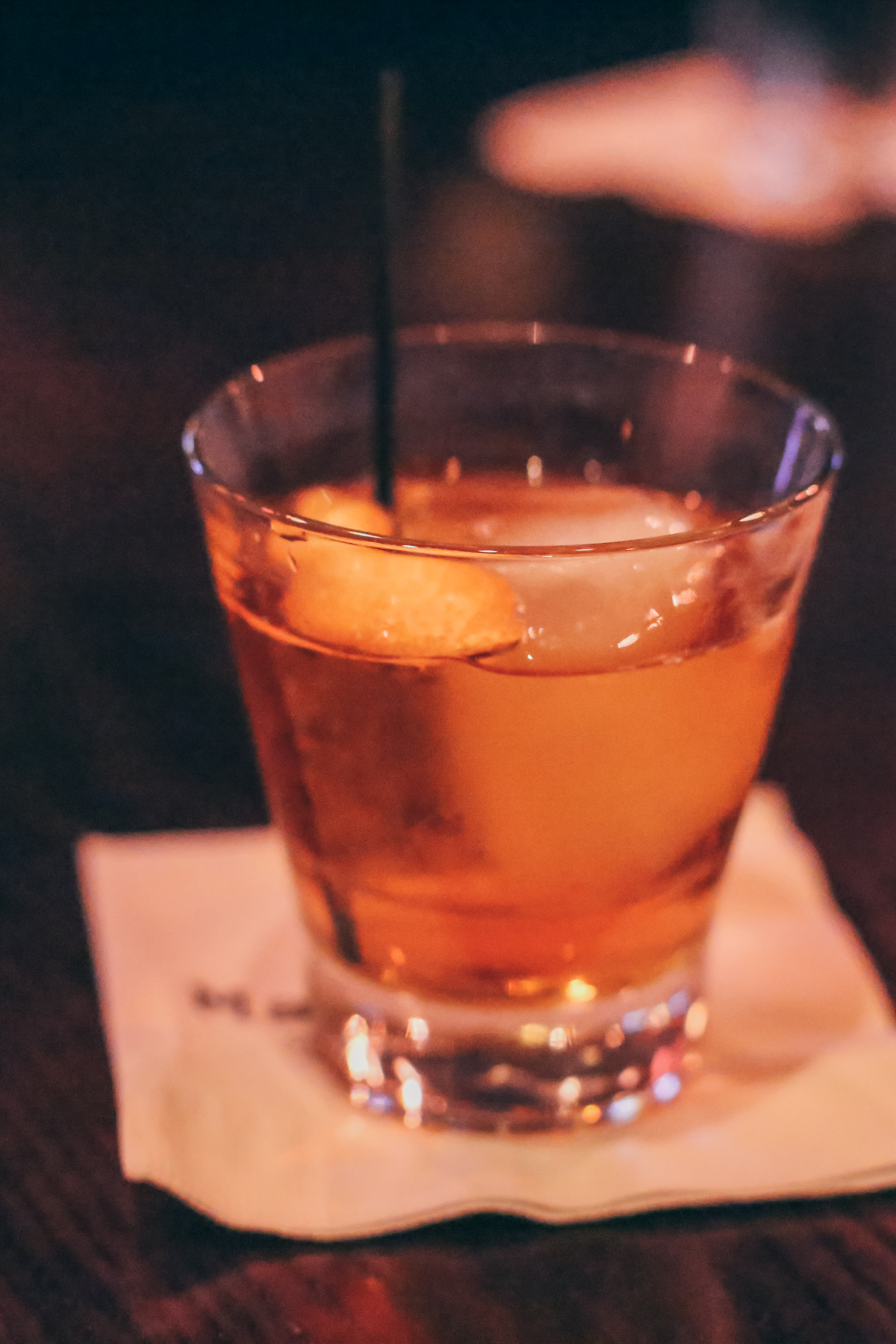 Barrel-Aged Scrappy Old Timer (from the regular menu):Old Forester, Suze Aperitif, Cocchi Torino, Vermouth and Scrappy Orange Bitters