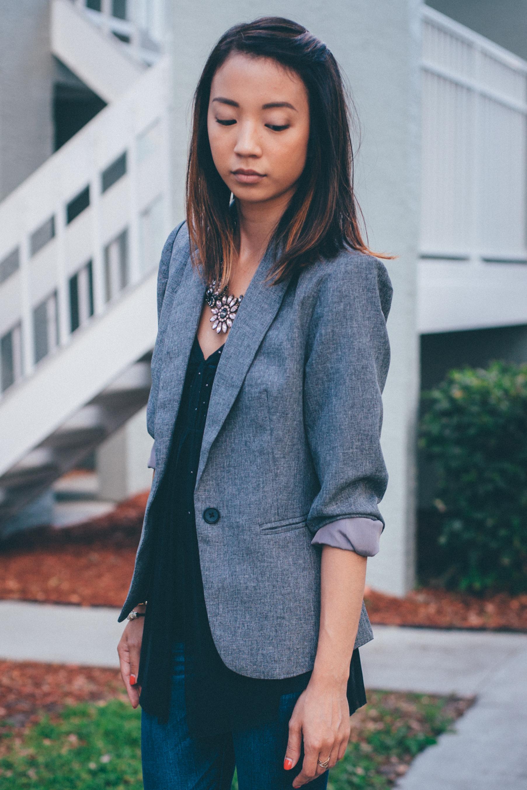 This Jenn Girl - Shein Gray Blazer 2