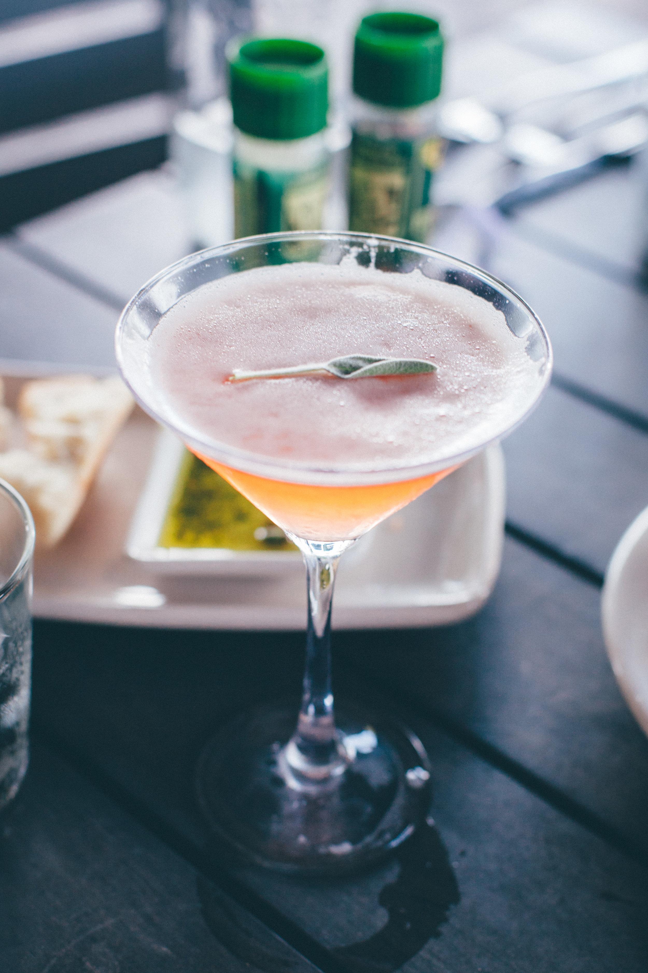 Pomegranate & Sage Martini:Reyka small-batch vodka, a hint of sage, 100% pomegranate juice & fresh lemon juice, finished with a fresh sage leaf