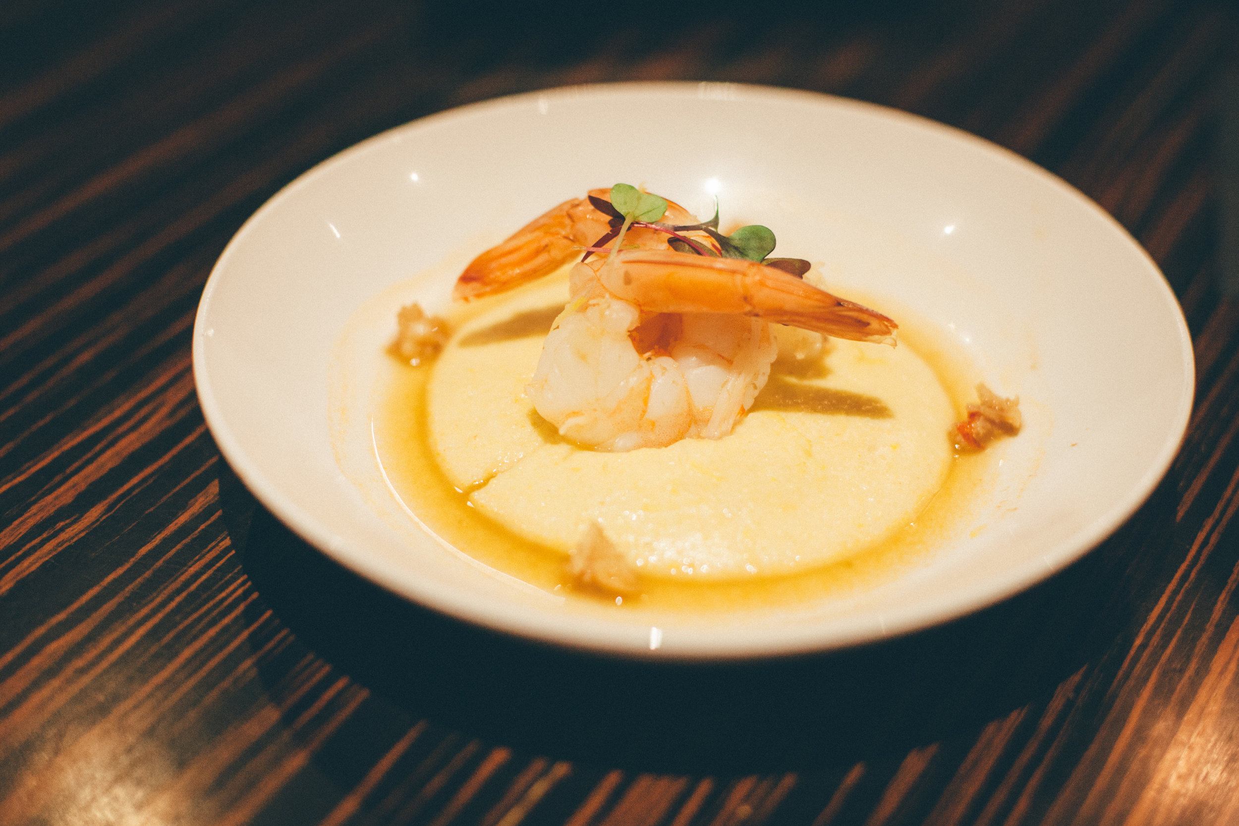 Shrimp and Polenta with Lobster Citrus Reduction