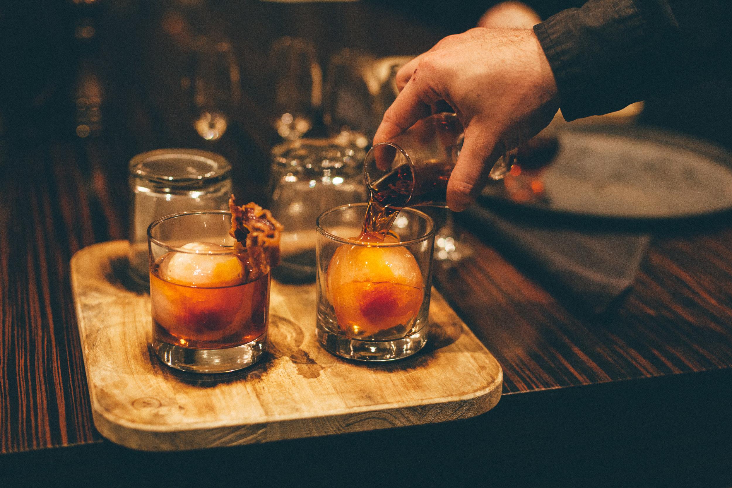 Smoked FlameStone 21: Buffalo Trace, Carpano Antica, Luxardo (bourbon barrel-aged in house, 21 days)