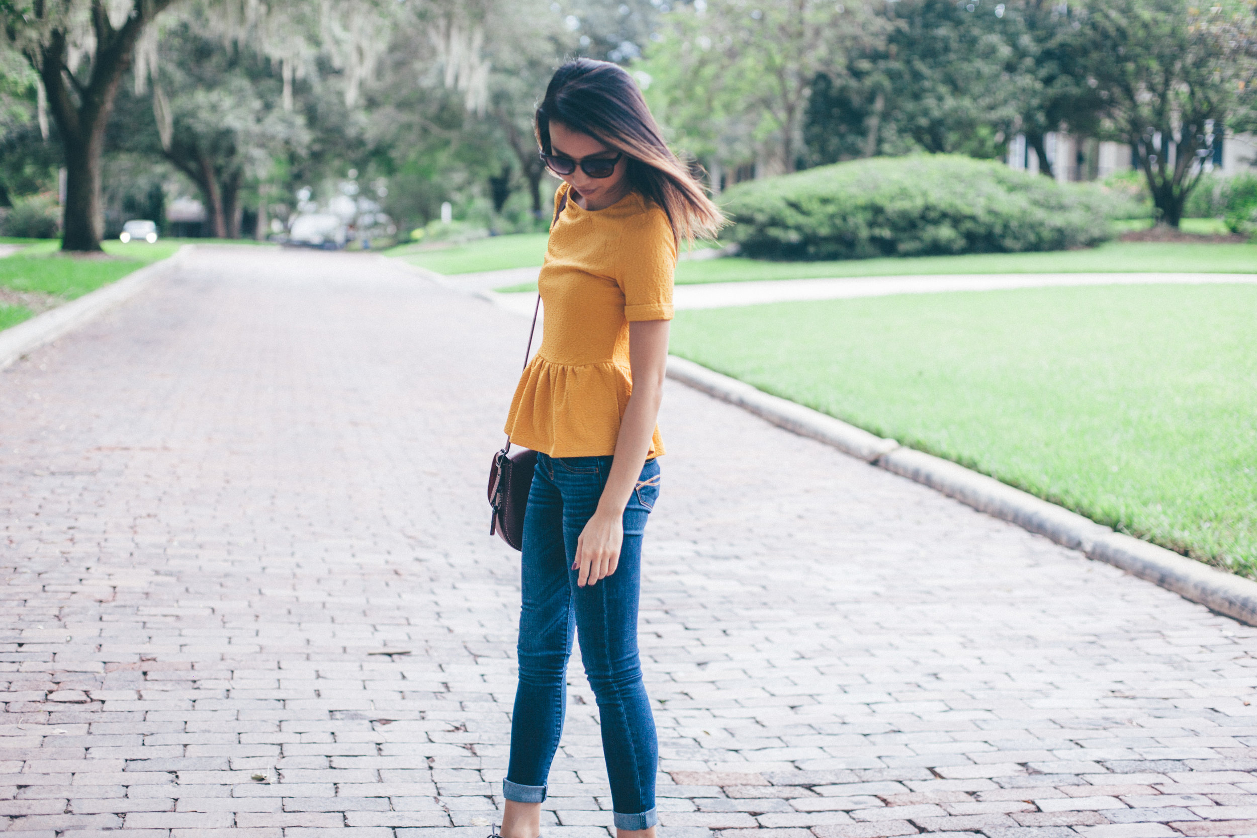 This Jenn Girl - Shein Yellow Peplum 1