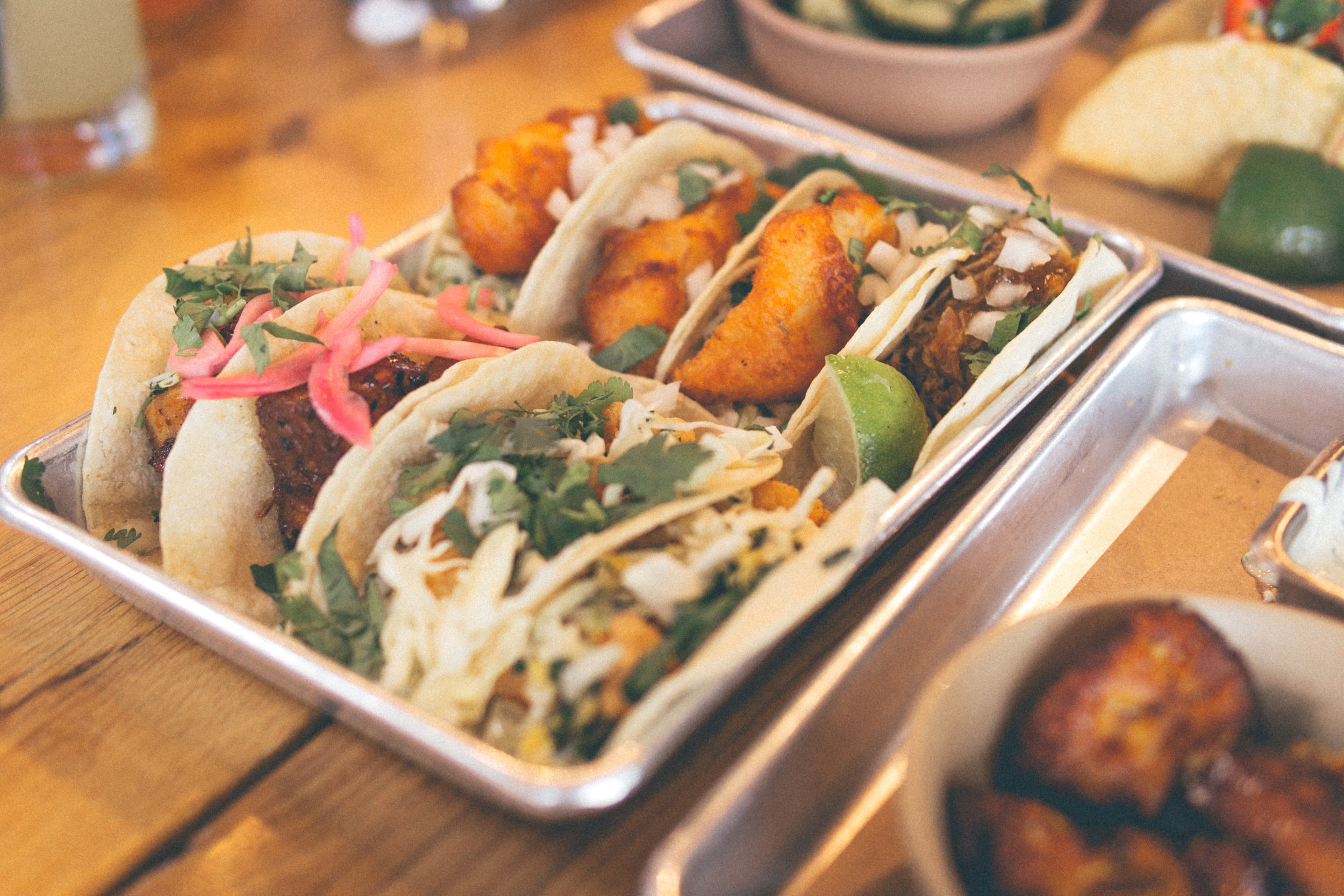 Baja Fish, Duck, Pork Belly and Rock Shrimp Tacos