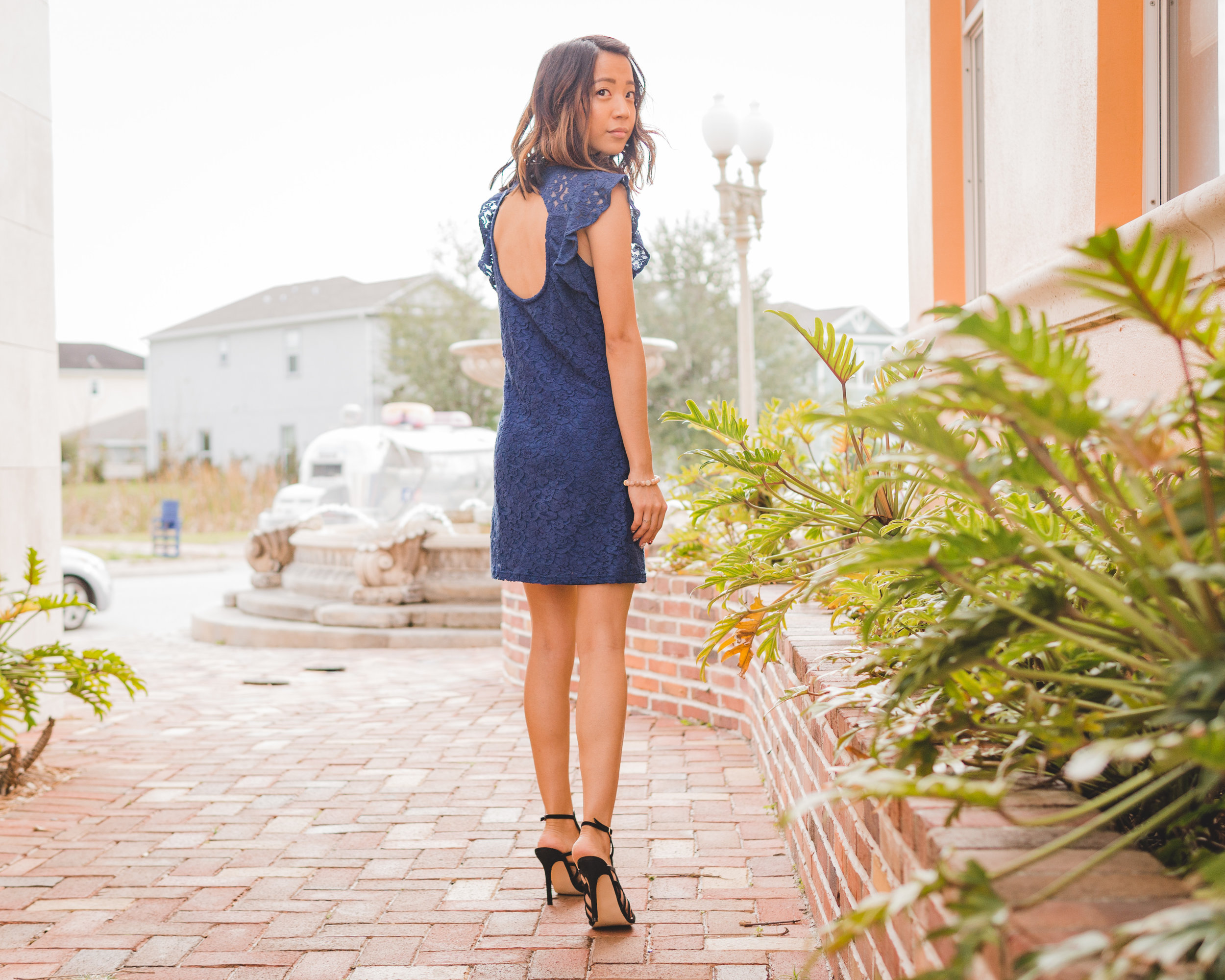 This Jenn Girl - Tampa Blogger - Navy Blue Dress & Cage Heel 2