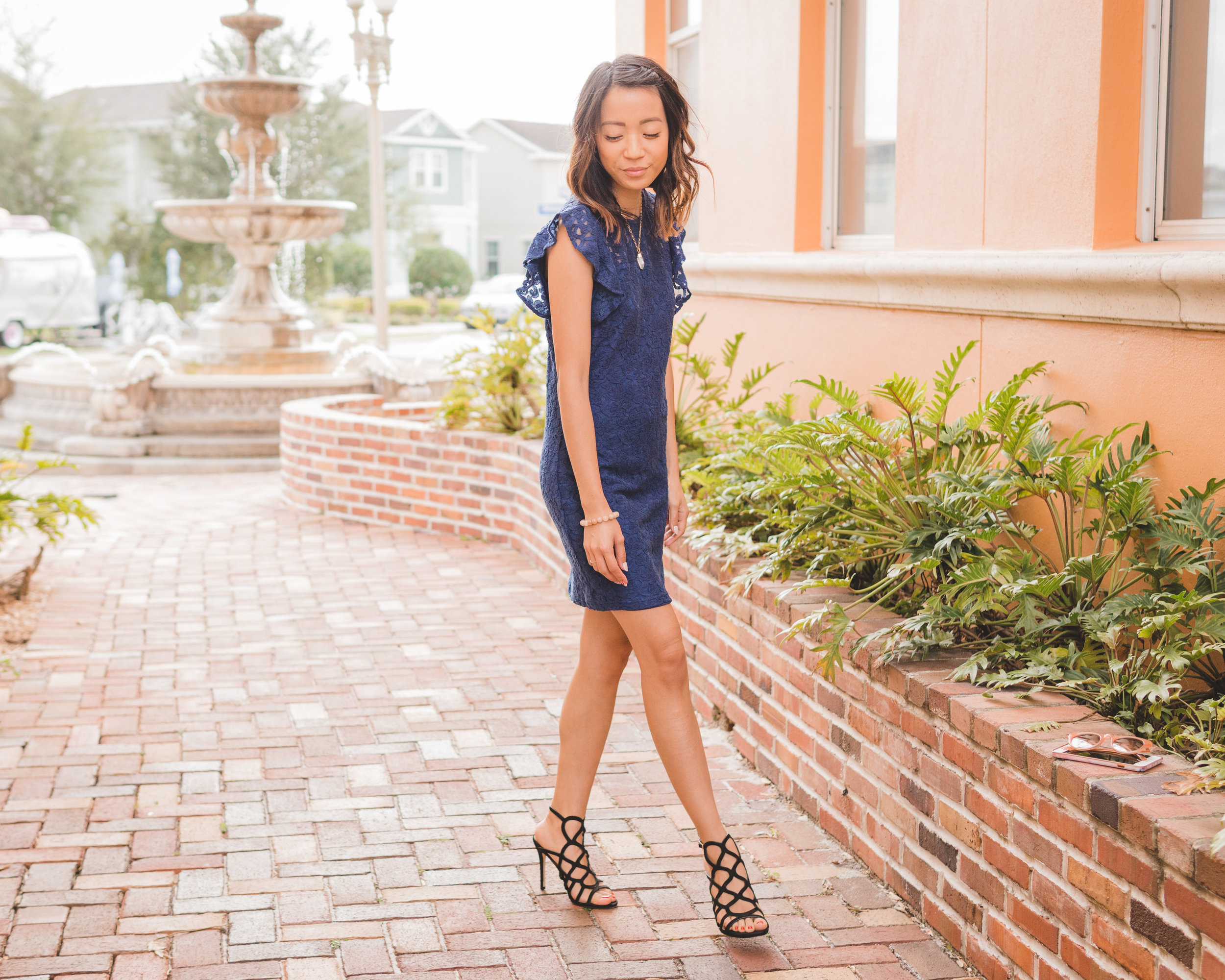 This Jenn Girl - Tampa Blogger - Navy Blue Dress & Cage Heel 3