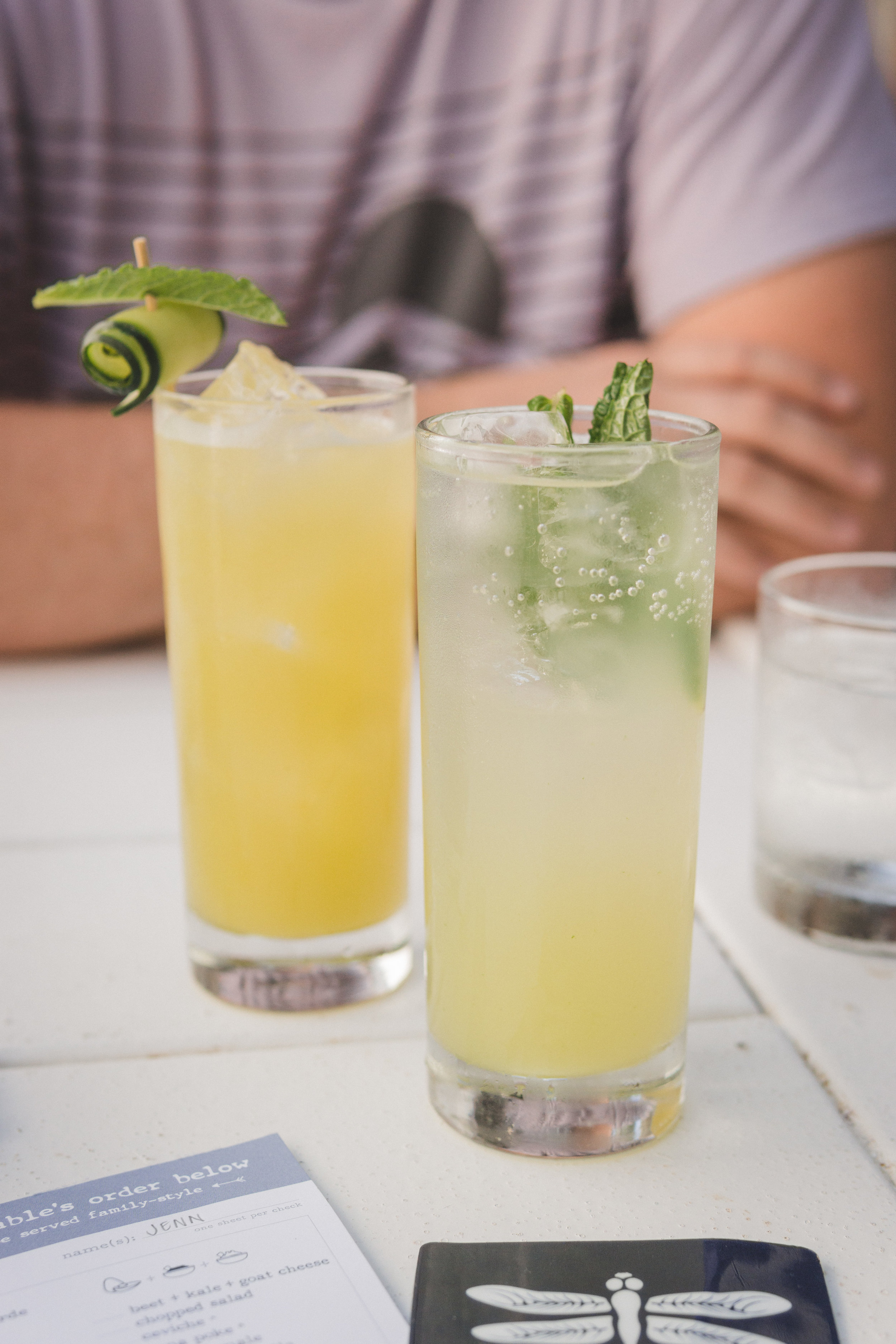 Reviver: Gin, cucumber, mint, mango nectar & lime juice   Mint lemonade