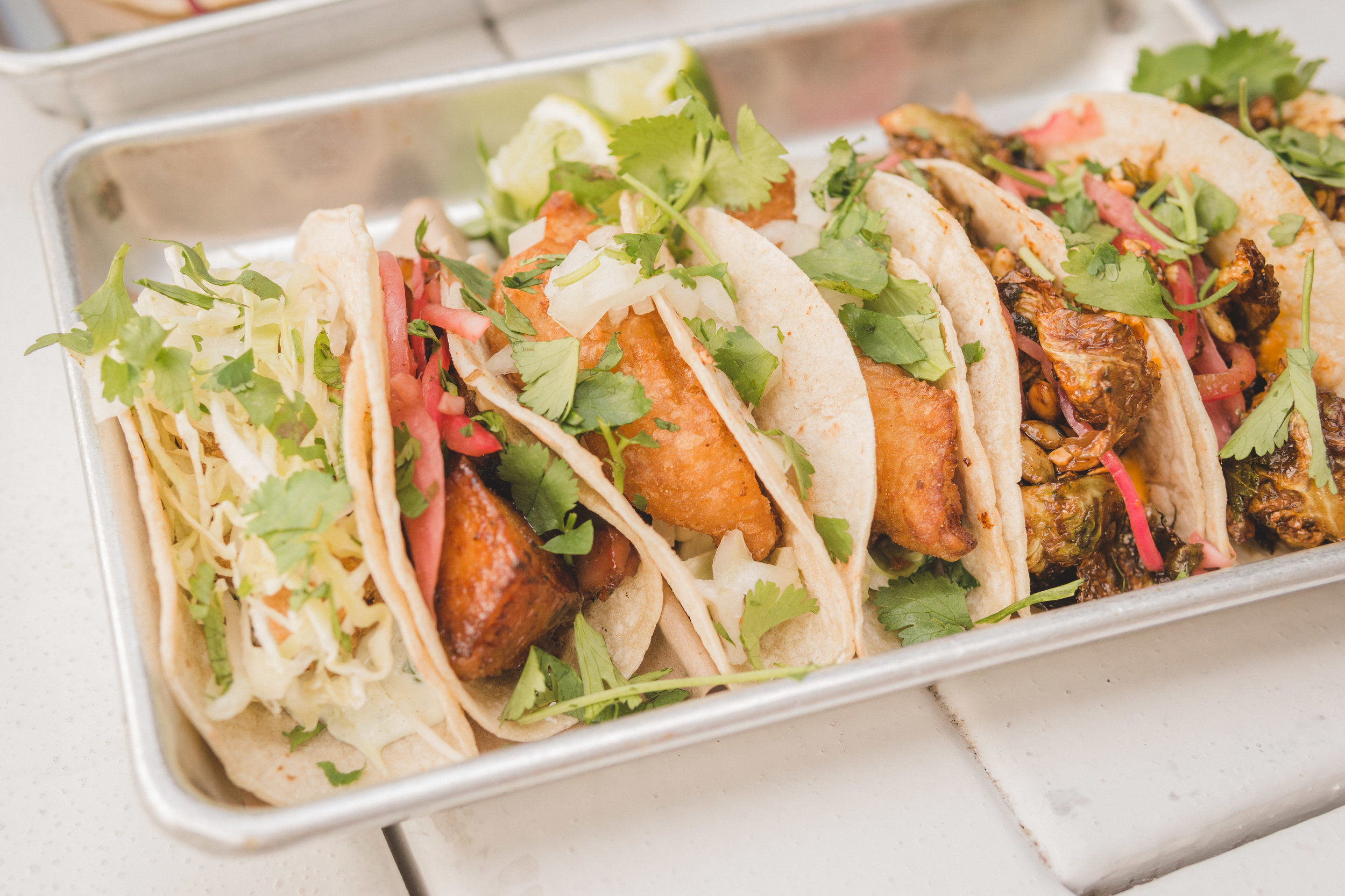 Some of our go-to usual orders: Crispy Rock Shrimp, Glazed Pork Belly & Baja Fish Tacos