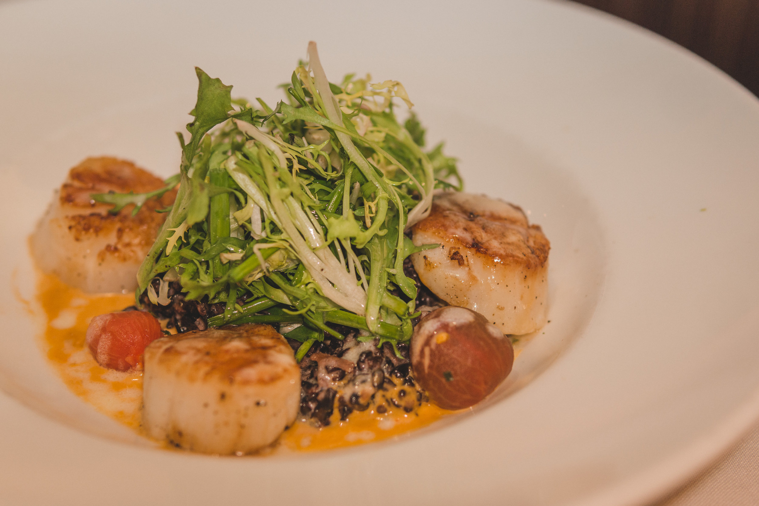 Butter Seared Georges Bank Sea Scallops: Creamy Coconut Black Rice, Lobster Essence