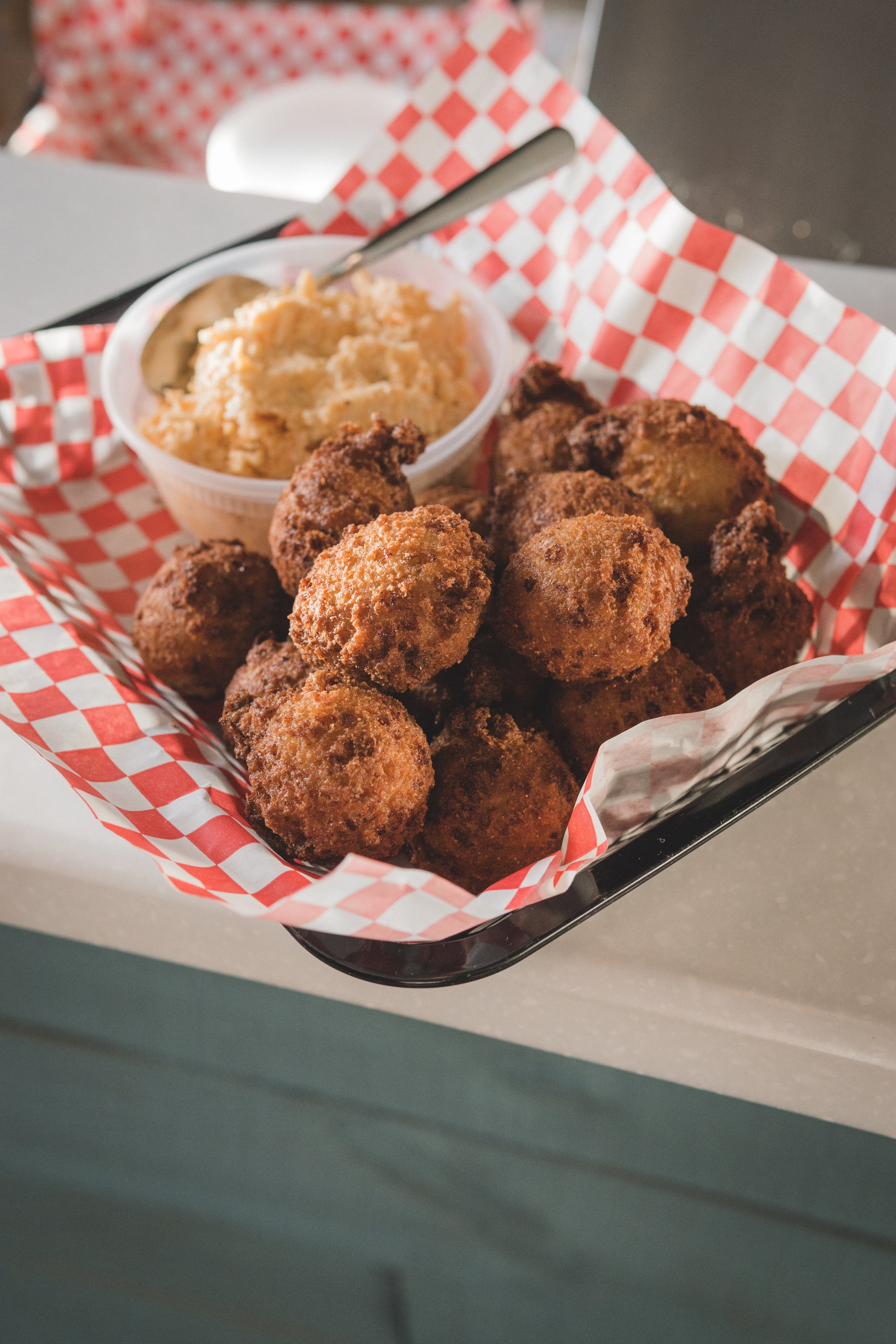 Side of Hushpuppies: Grandma's recipe, served with pimento cheese