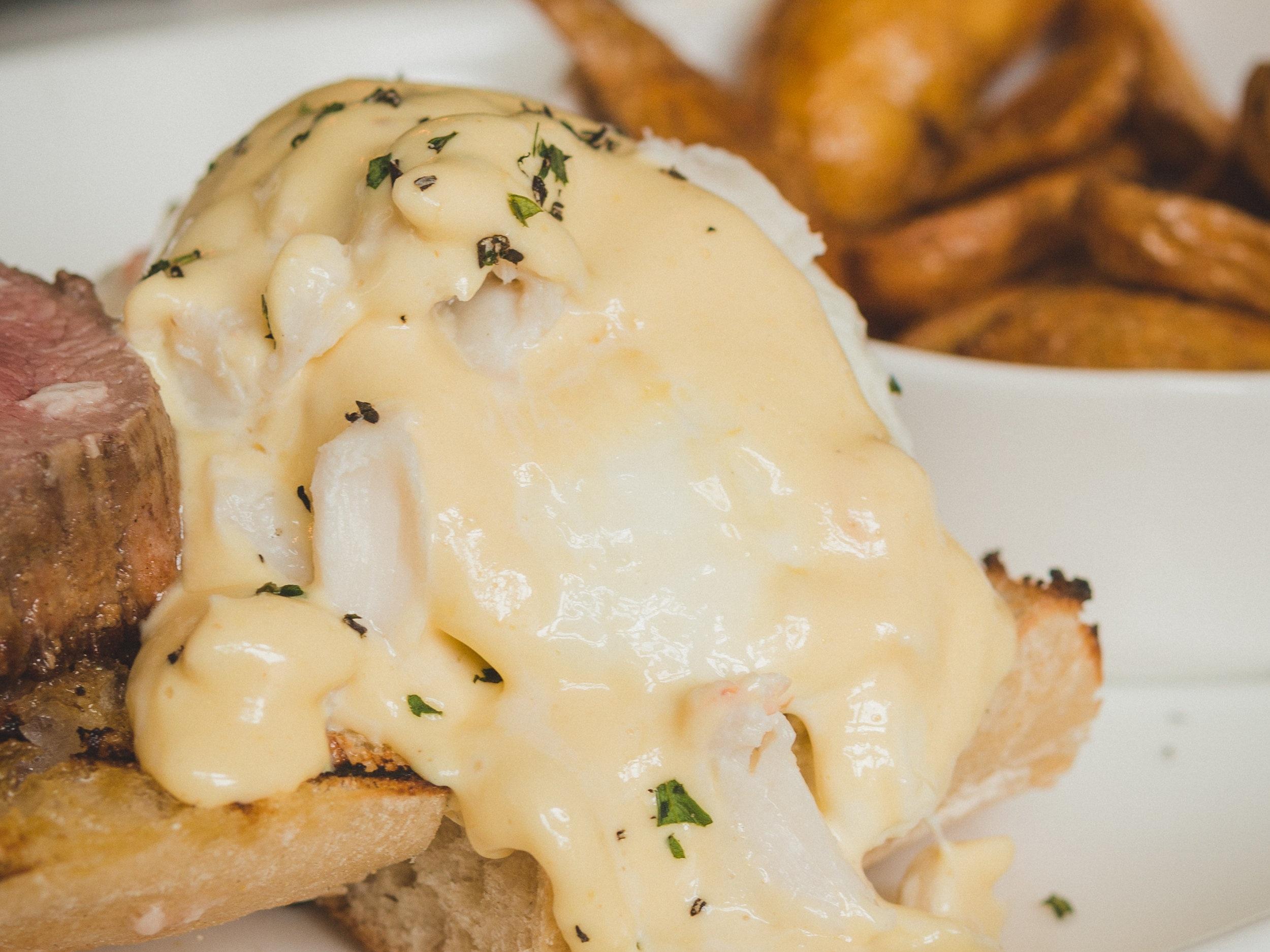 Surf & Turf Benedict: 5 oz. Filet, Jumbo Lump Crab, Sourdough English Muffin, Hollandaise