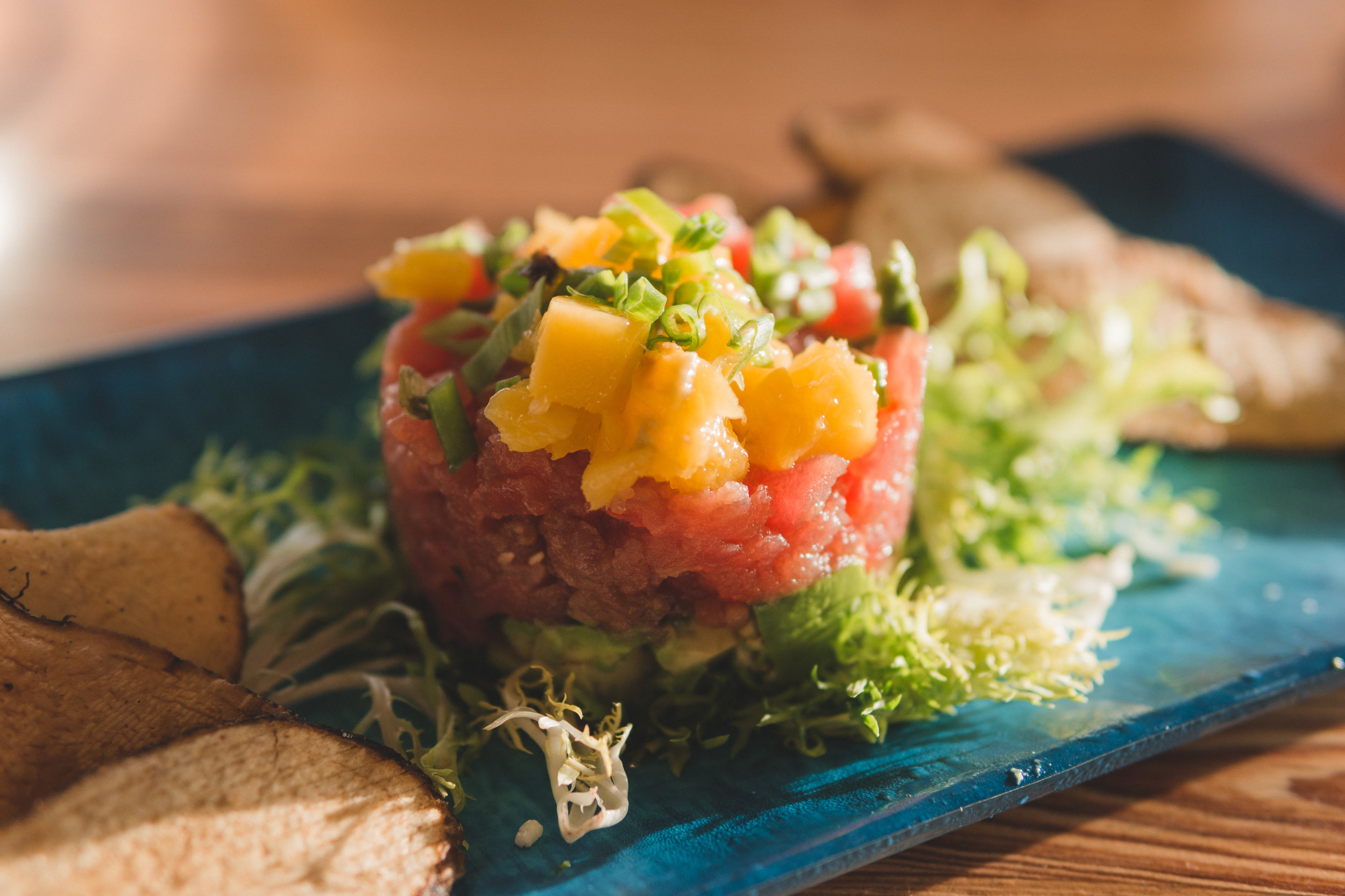 Gaspar's Tuna Tartare: Old Florida recipe with avocado, sesame & ginger-soy drizzle, served with malanga chips