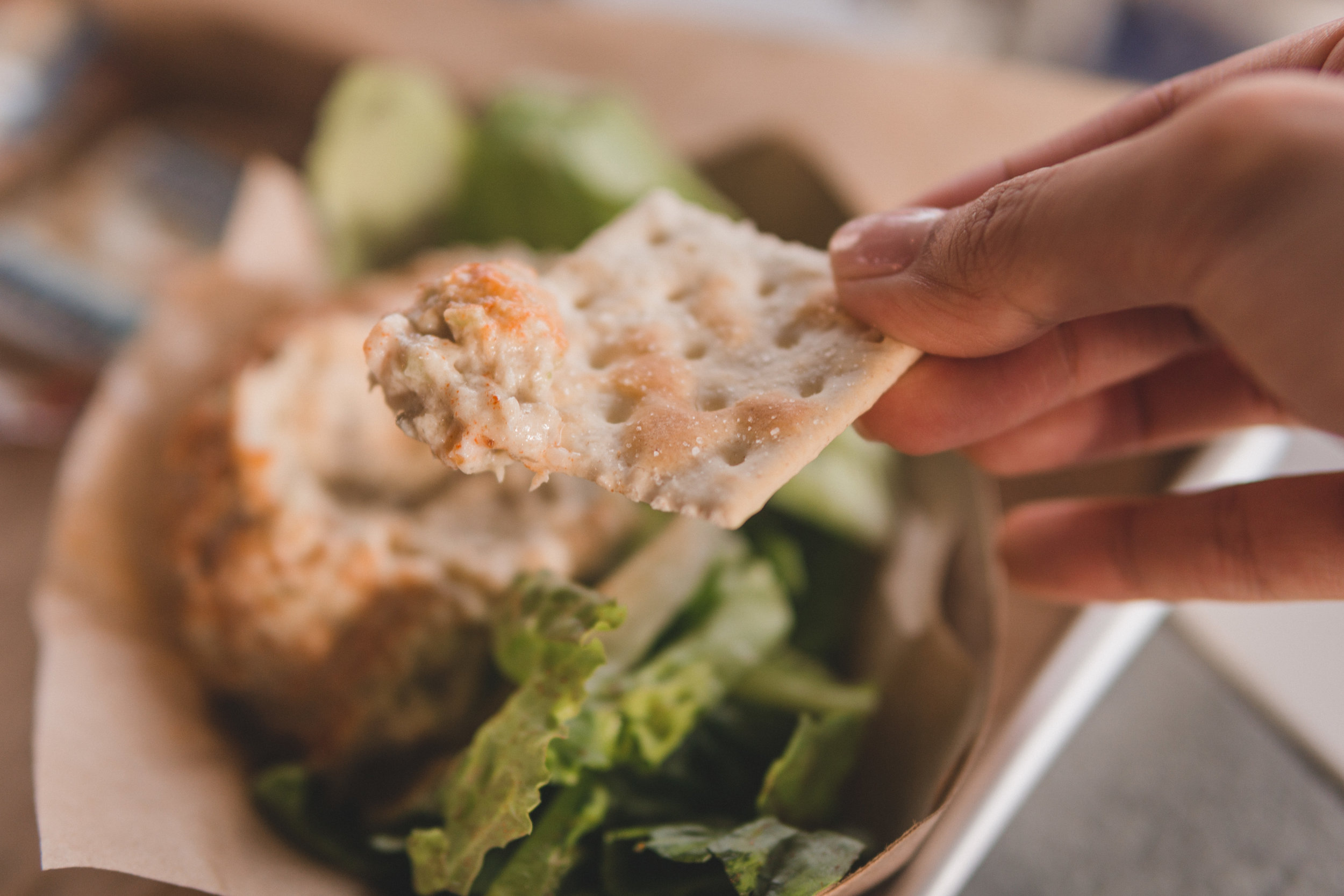 Smoked Fish Dip served with crackers