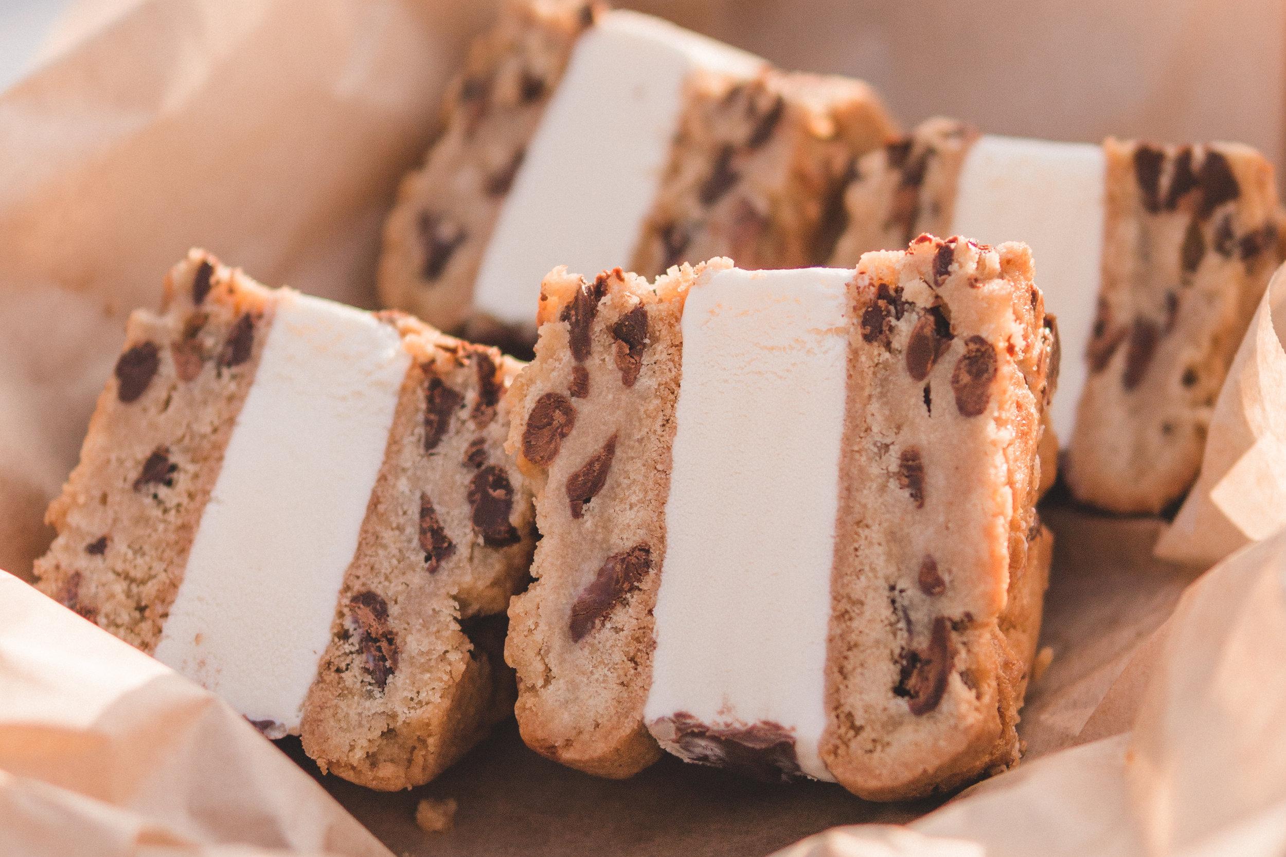 Giant Ice Cream Sandwich: Fresh churned vanilla ice cream, chocolate chip cookies