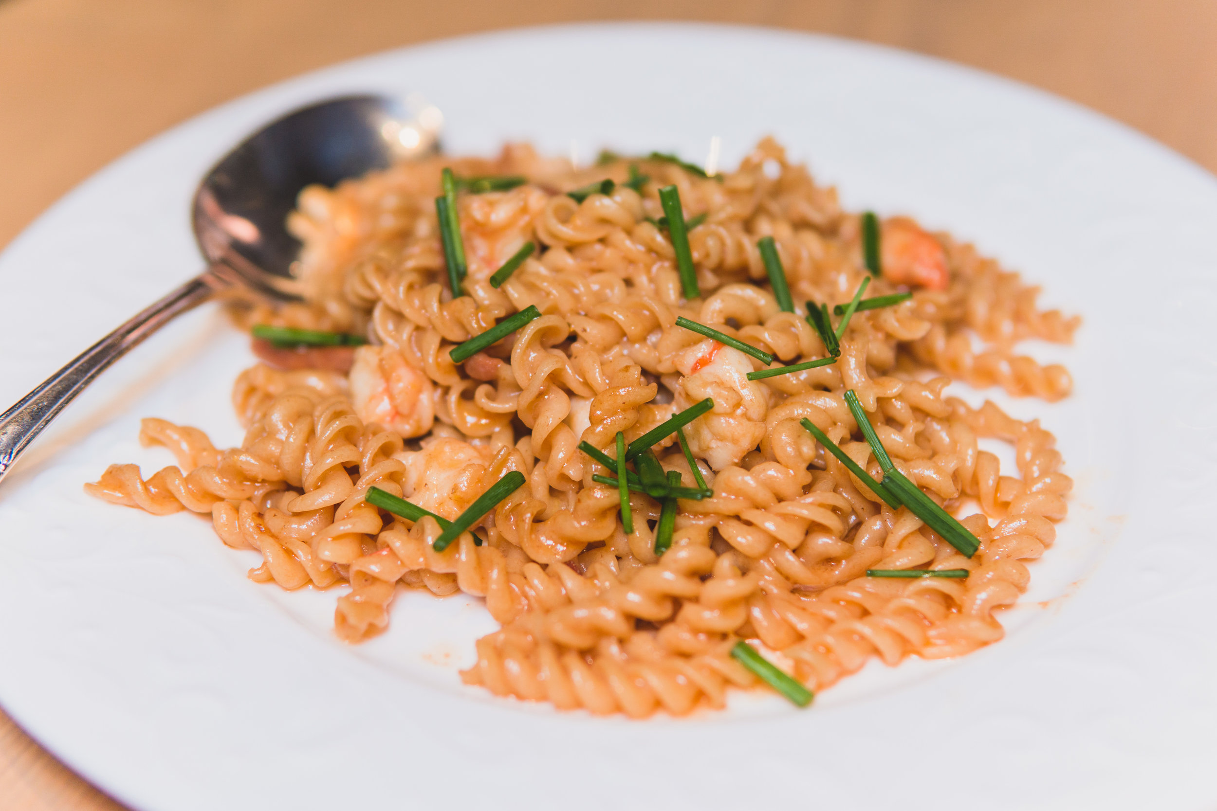 Fusilli: Key West pink shrimp, roasted shell butter, prosciutto di parma, chives