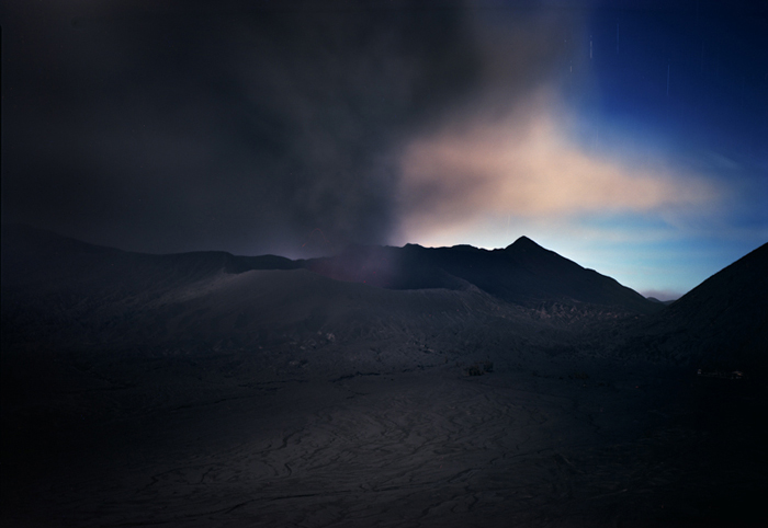 Mt. Bromo Erupting at Night, E. Java, Indonesia, 2011