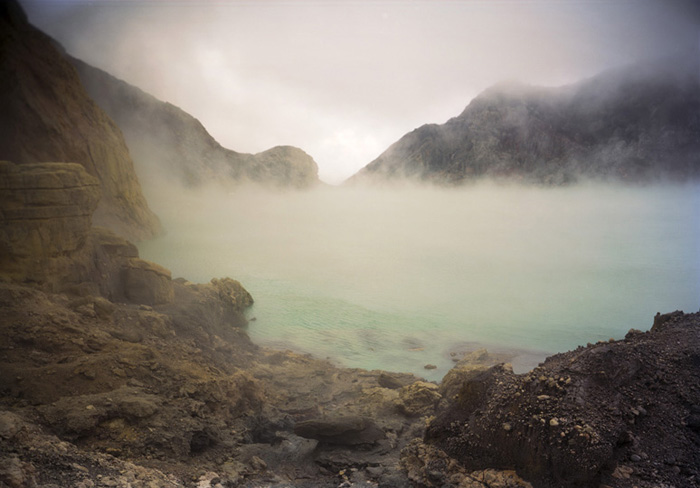 Kawah Ijen Crater Lake, E. Java Indonesia 2010 (sulfuric acid and hydrochloric acid)