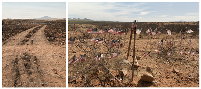 Surface Tension/US - Mexico: Barbed Wire [red flags]. 2012 by Terri Warpinski