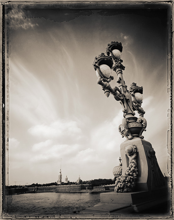 Bridge Lamp and Fortress, St. Petersburg, Russia