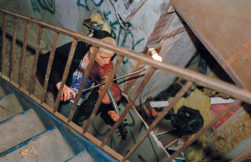 Maria and Violin in Serenity House Stairwell, 1997