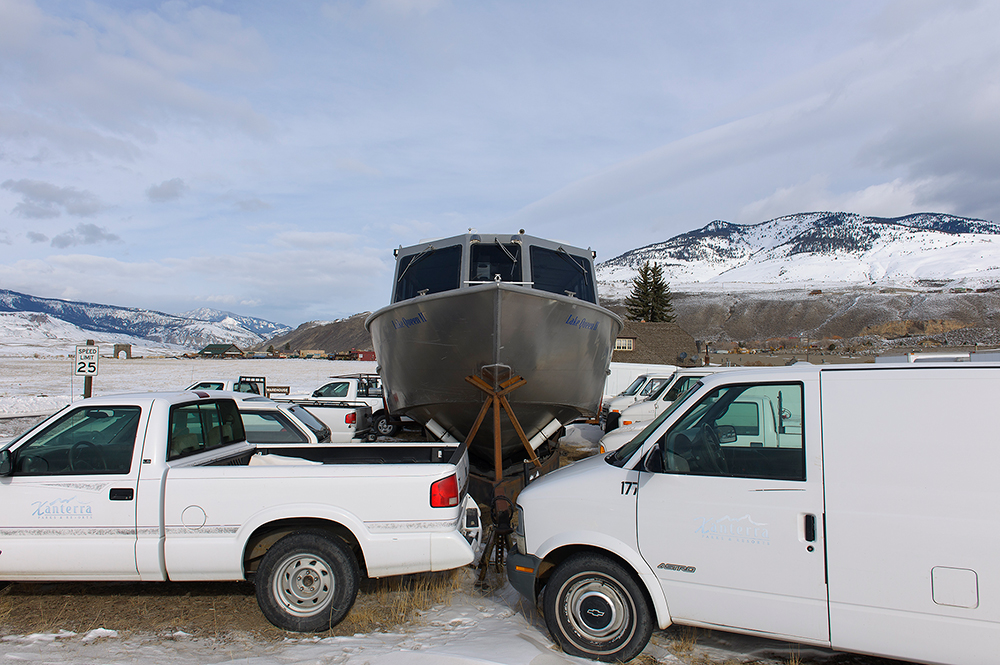 Lake Queen II in Winter Storage, Gardiner, Montana