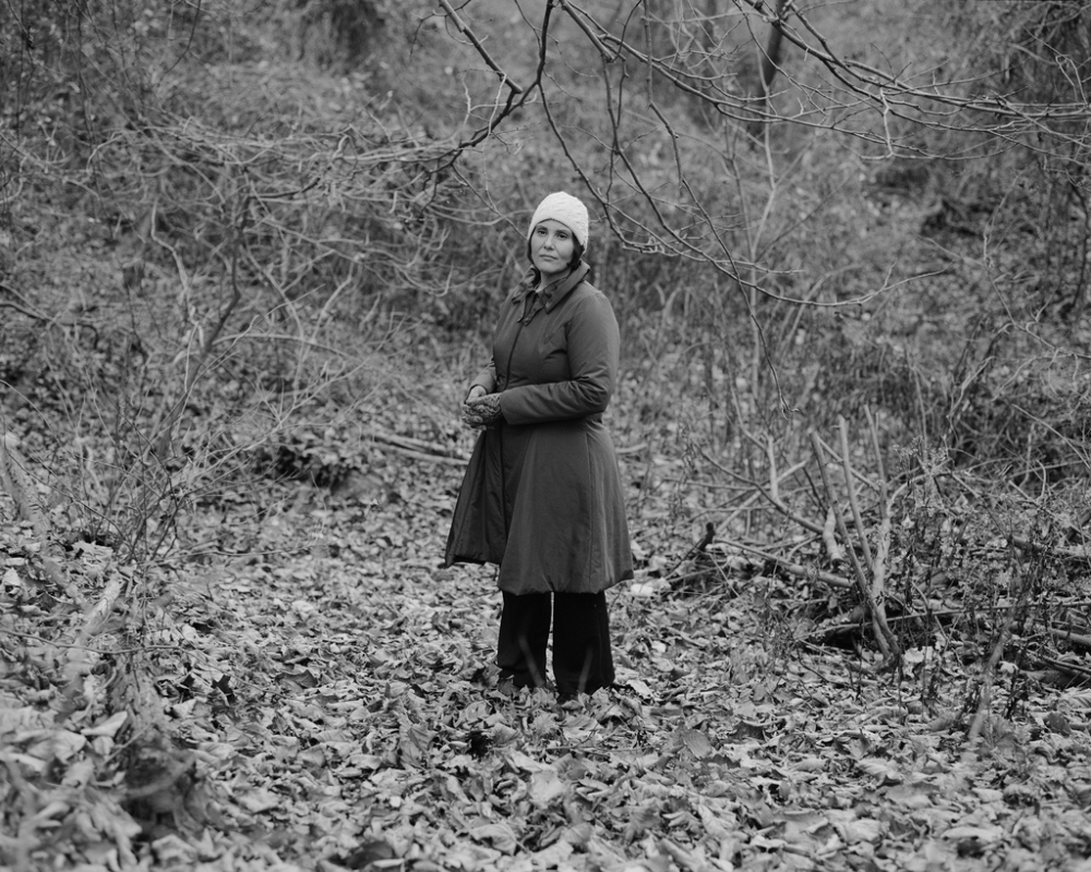 Debra in her backyard, Squirrel Hill, Pittsburgh, PA; 2011