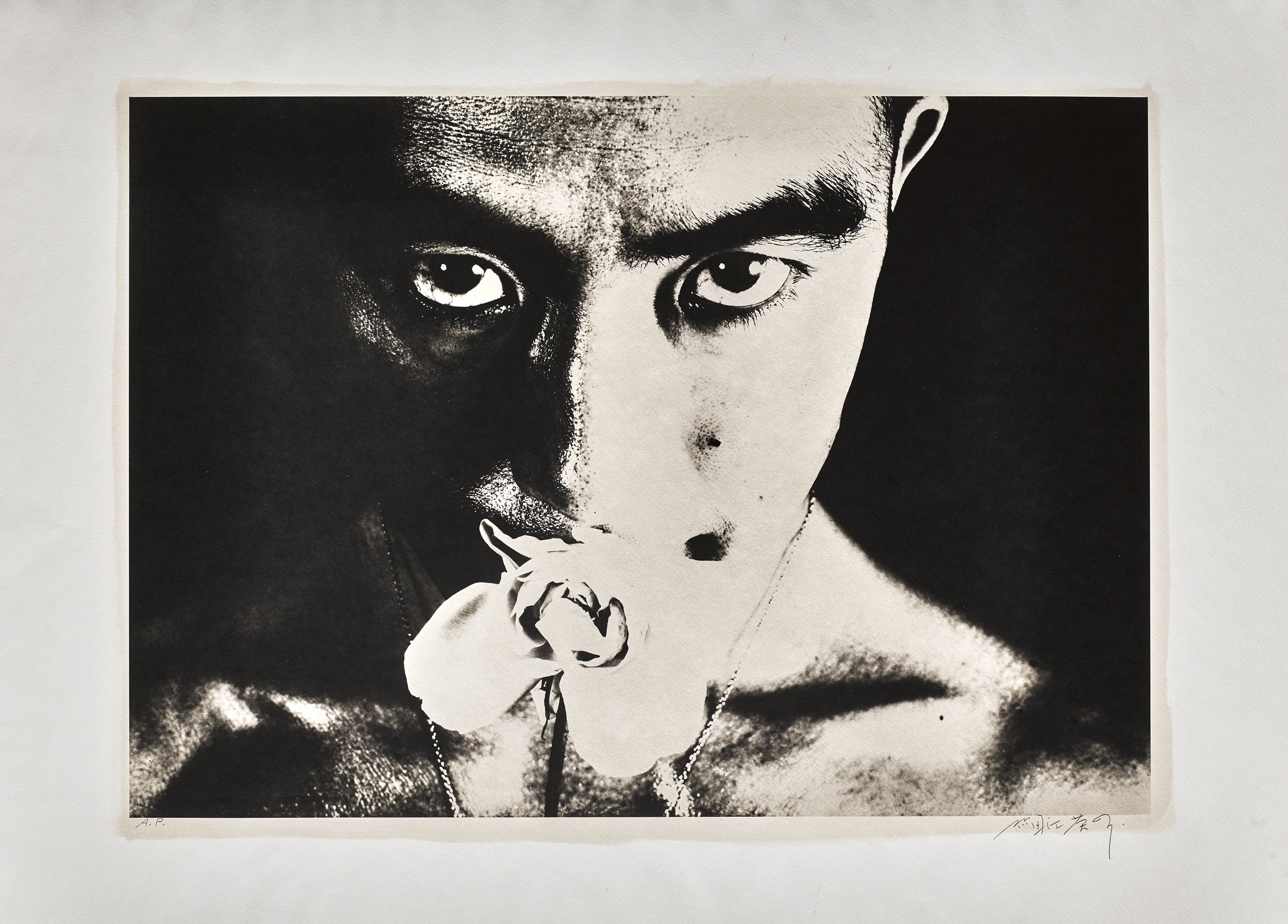 © Eikoh Hosoe, Ordeal by Rose #32, 1961, Ordeal by Roses, platinum-palladium printed at Hosoe's studio in Karuitzawa in three series in 1988. Image: 54 x 74 cm, Frame: 61 x 81 cm, Unique piece, signed and numbered 262