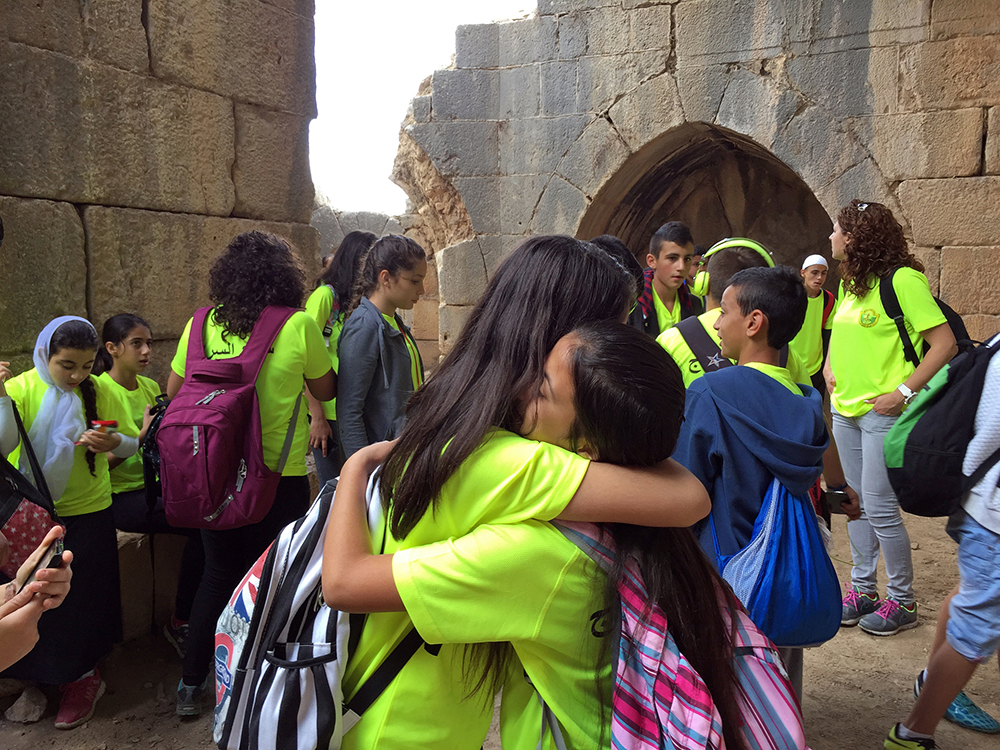 Druze Children (Arab minority loyal to Israel) Embrace, Nimrod Fortress, Golan Heights