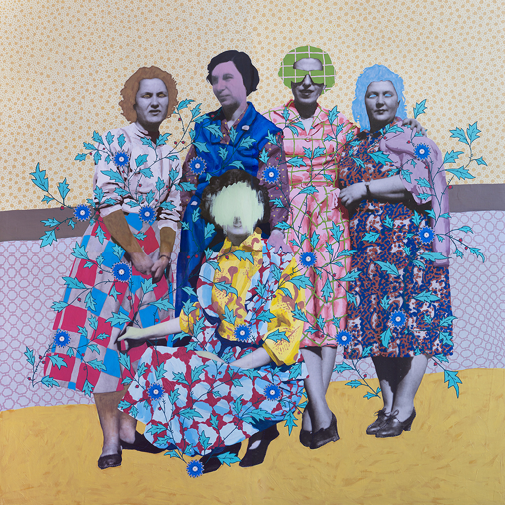 "Title: Untitled (Five Patterned Women) Size: 72""x72"" Medium: Oil on archival print mounted to panel Date: 2016"