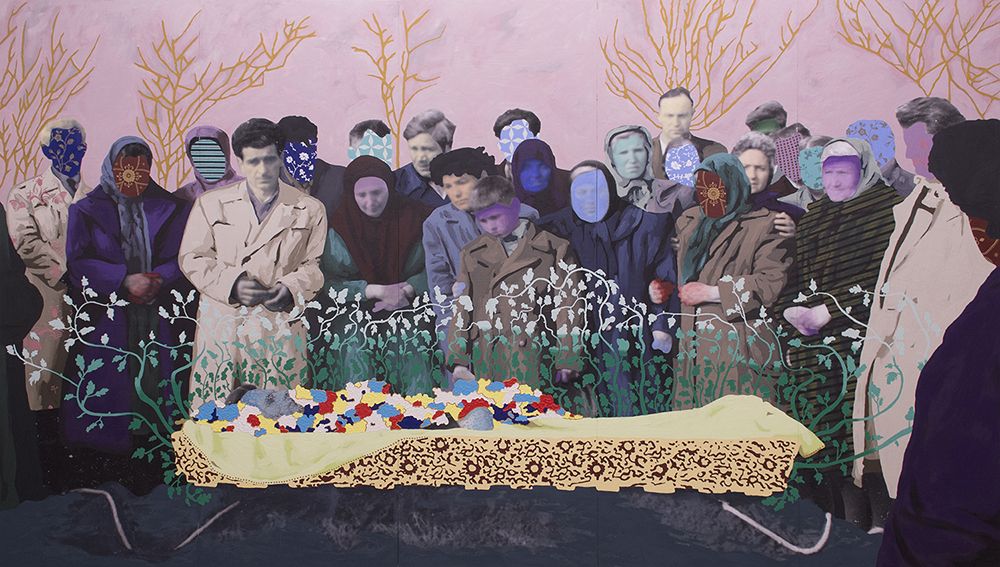 "Title: Untitled (A Bulgarian Funeral) Size: 80""x140"" Medium: Oil on archival print mounted to panel Date: 2016"