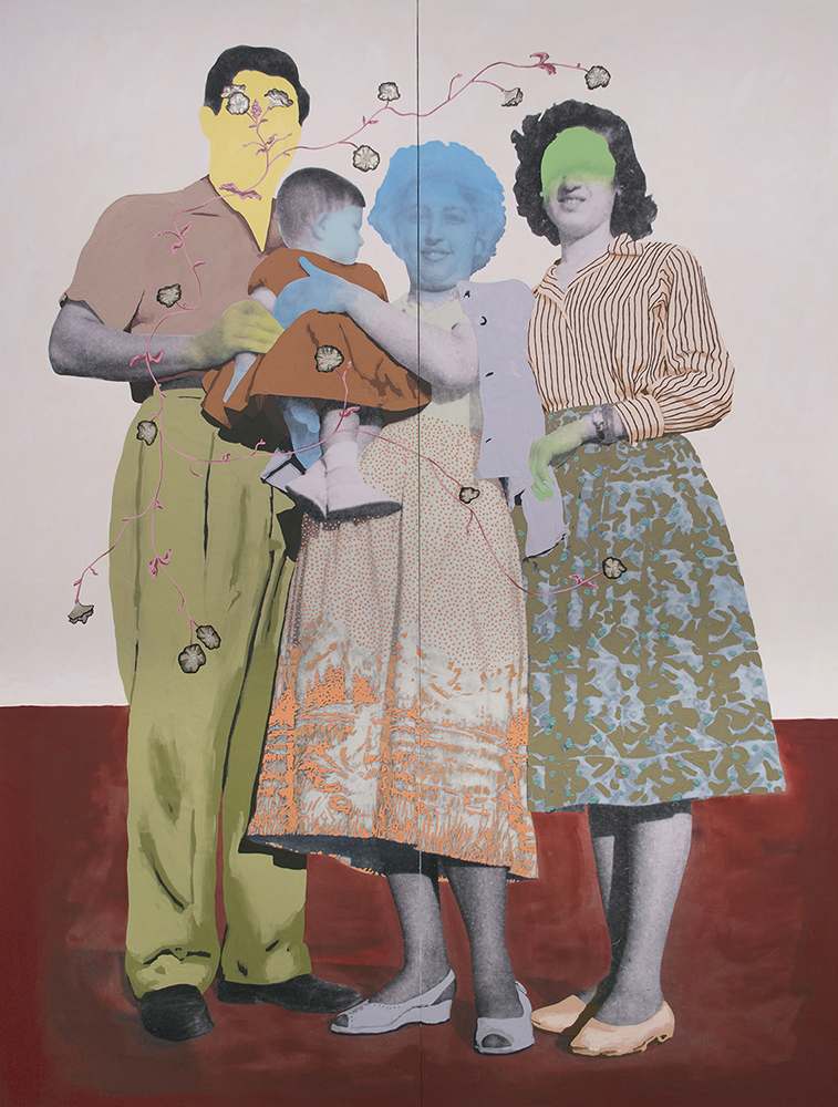 "Title: Untitled (Family Ties) Size: 80""x60"" Medium: Oil on archival print mounted to panel Date: 2016"