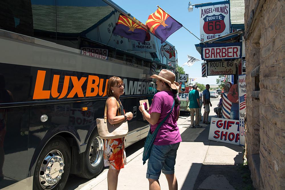 Lux Bus outside Delgadillo's Route 66 Gift Shop, Seligman, AZ