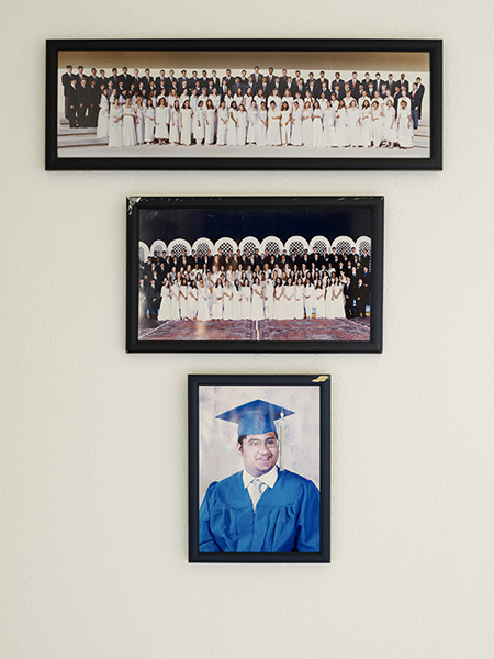 Dhahran Middle School ninth-grade graduation photo, 2000. Dhahran Middle School ninth-grade graduation photo, 2002. Omar's high school graduation portrait, 2005