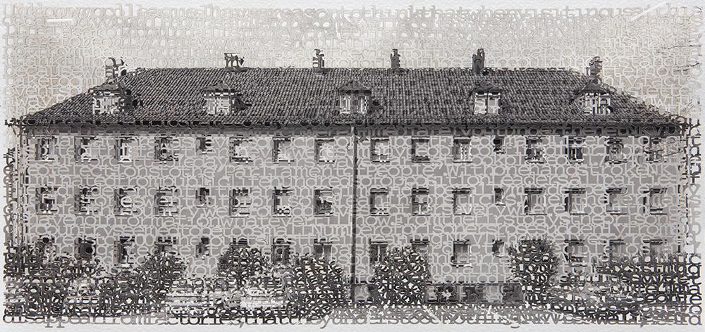 Esslingen 1, 10x21, layered laser cut pigment prints, 2017