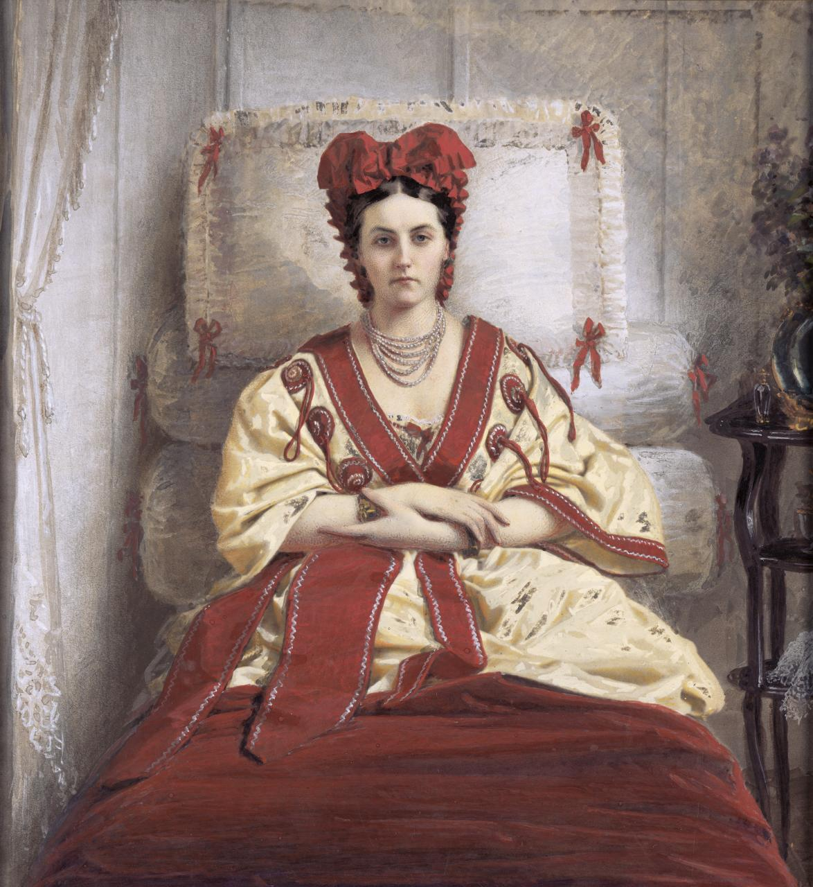 Pierre-Louis Pierson, French (1822–1913).  The Countess de Castiglione , ca. 1856–57. Hand colored salt print, 10 11/16 × 10 inches. The Nelson- Atkins Museum of Art, Kansas City, Missouri. Gift of the Hall Family Foundation, 2015.67.44.