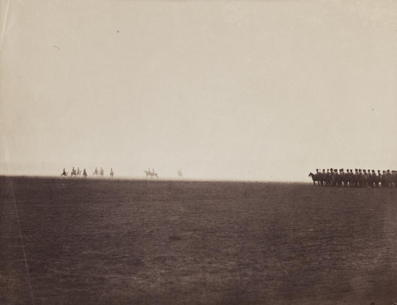 Gustave Le Gray, French (1820–1884).  Cavalry maneuvers, Camp de Châlons , 1857. Albumen print, 10 3/16 × 13 1/8 inches. The Nelson- Atkins Museum of Art, Kansas City, Missouri. Gift of the Hall Family Foundation, 2017.61.20.