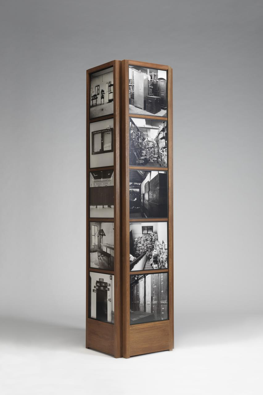 Dayanita Singh, Indian (born 1961).  Kochi Pillar , 2015. Mixed media with inkjet prints, 89 5/8 × 22 × 21 3/4 inches. The Nelson-Atkins Museum of Art, Kansas City, Missouri. Gift of the Hall Family Foundation, 2016.75.266.1–34.